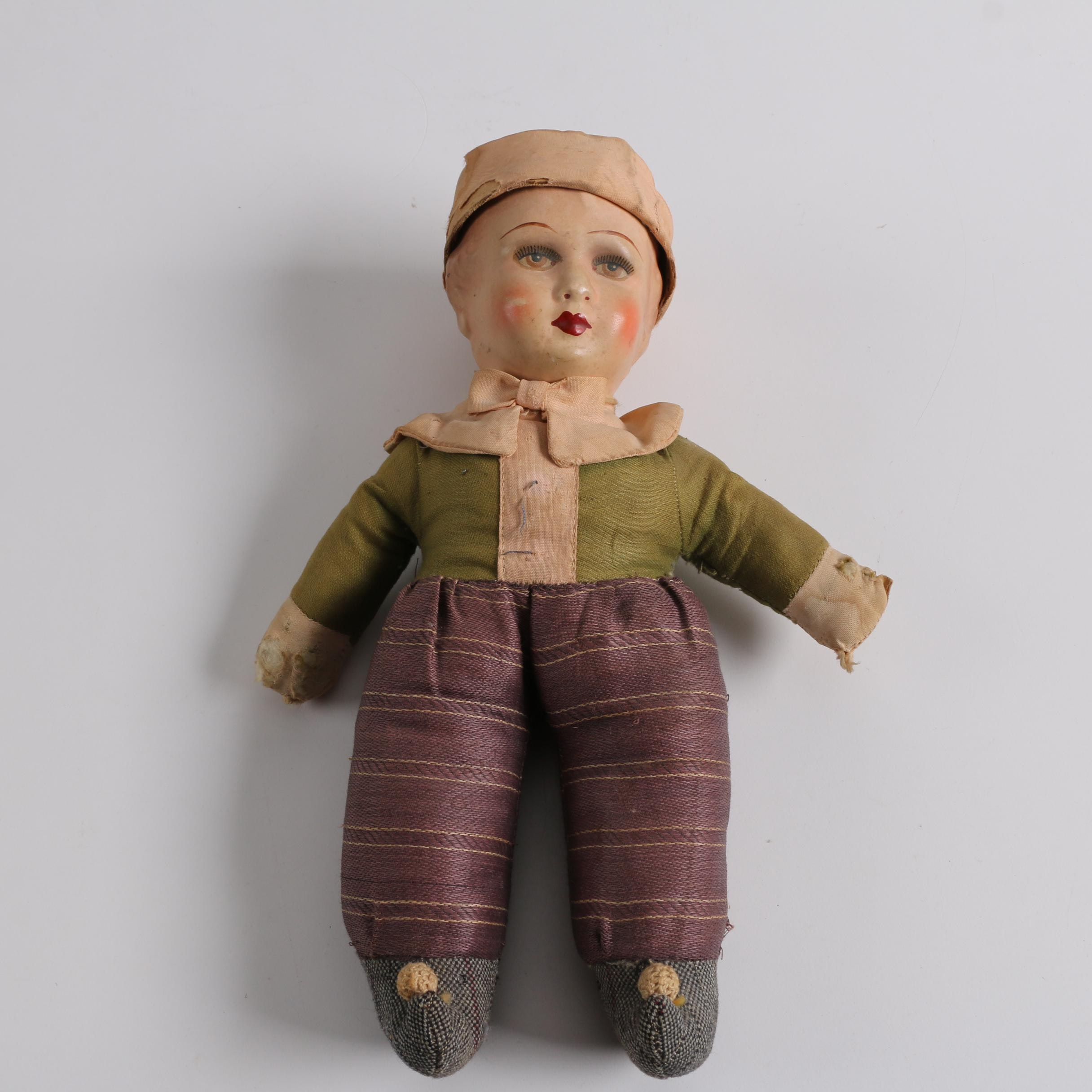 Circa 1920s Unica Composition and Cloth Doll with Rattle