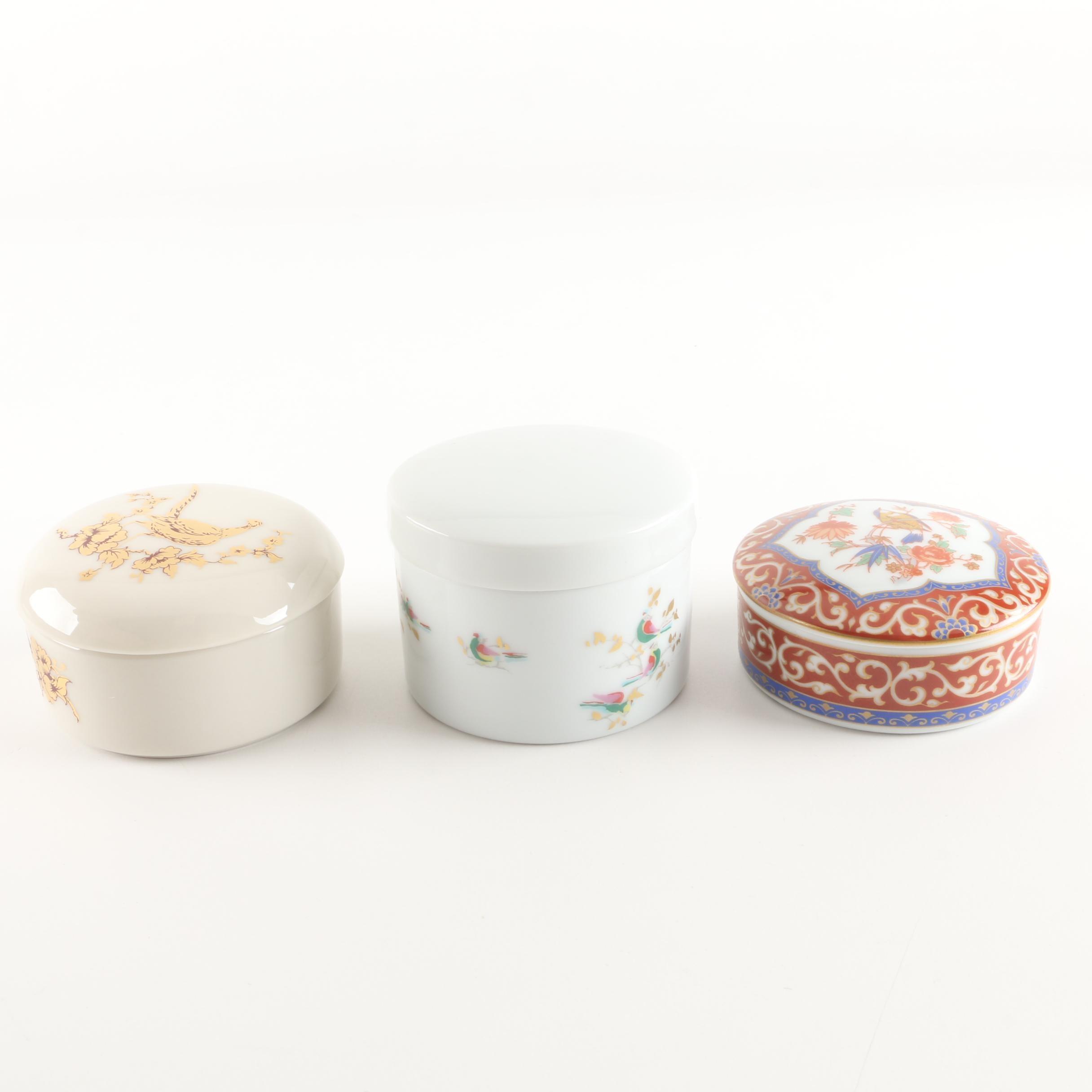 Porcelain Bird Themed Trinket Boxes Featuring Gorham