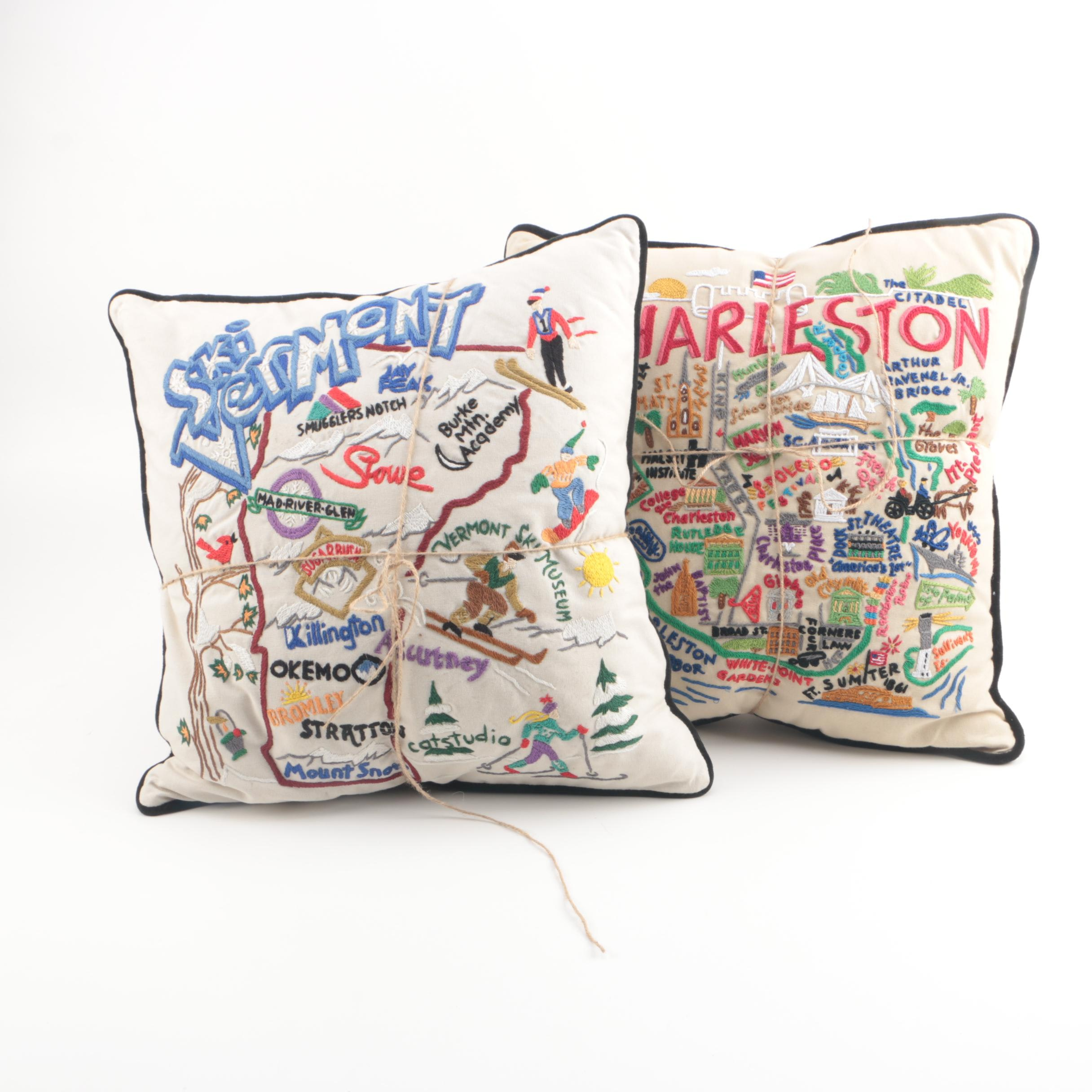 "Catstudio ""Charleston"" and ""Ski Vermont"" Hand-Embroidered Accent Pillows"