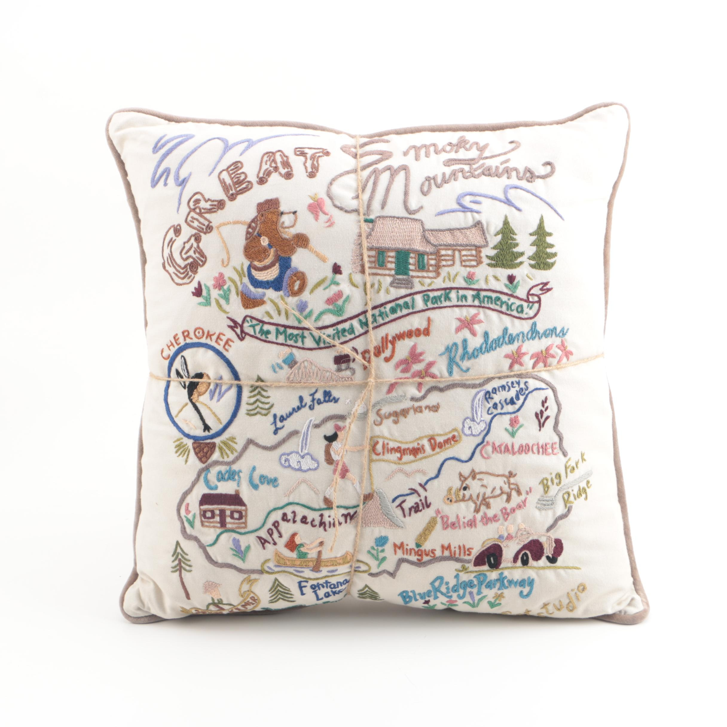 "Catstudio ""Great Smokey Mountains"" Hand-Embroidered Cotton Accent Pillow"