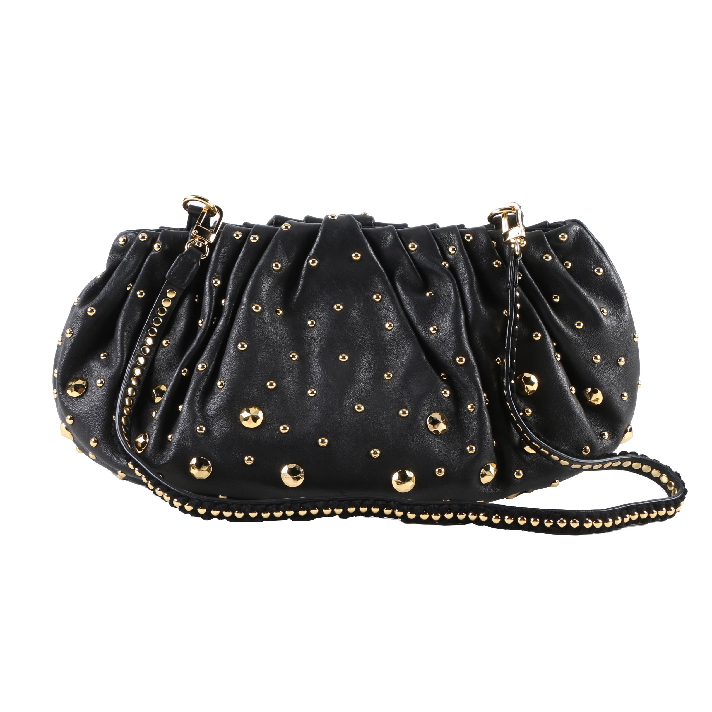 Diane von Furstenberg Black Leather Studded Shoulder Bag