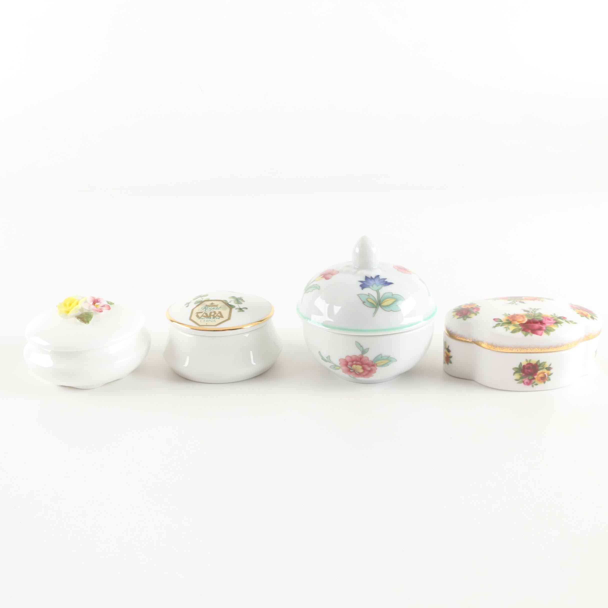 Porcelain Floral Themed Trinket Boxes Featuring Royal Albert and More