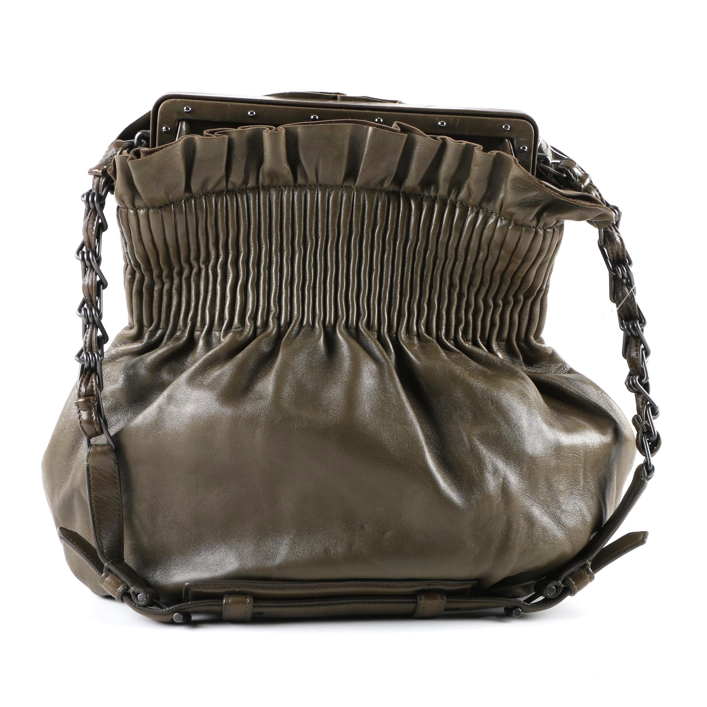 Reed Krakoff Olive Green Leather Shoulder Bag
