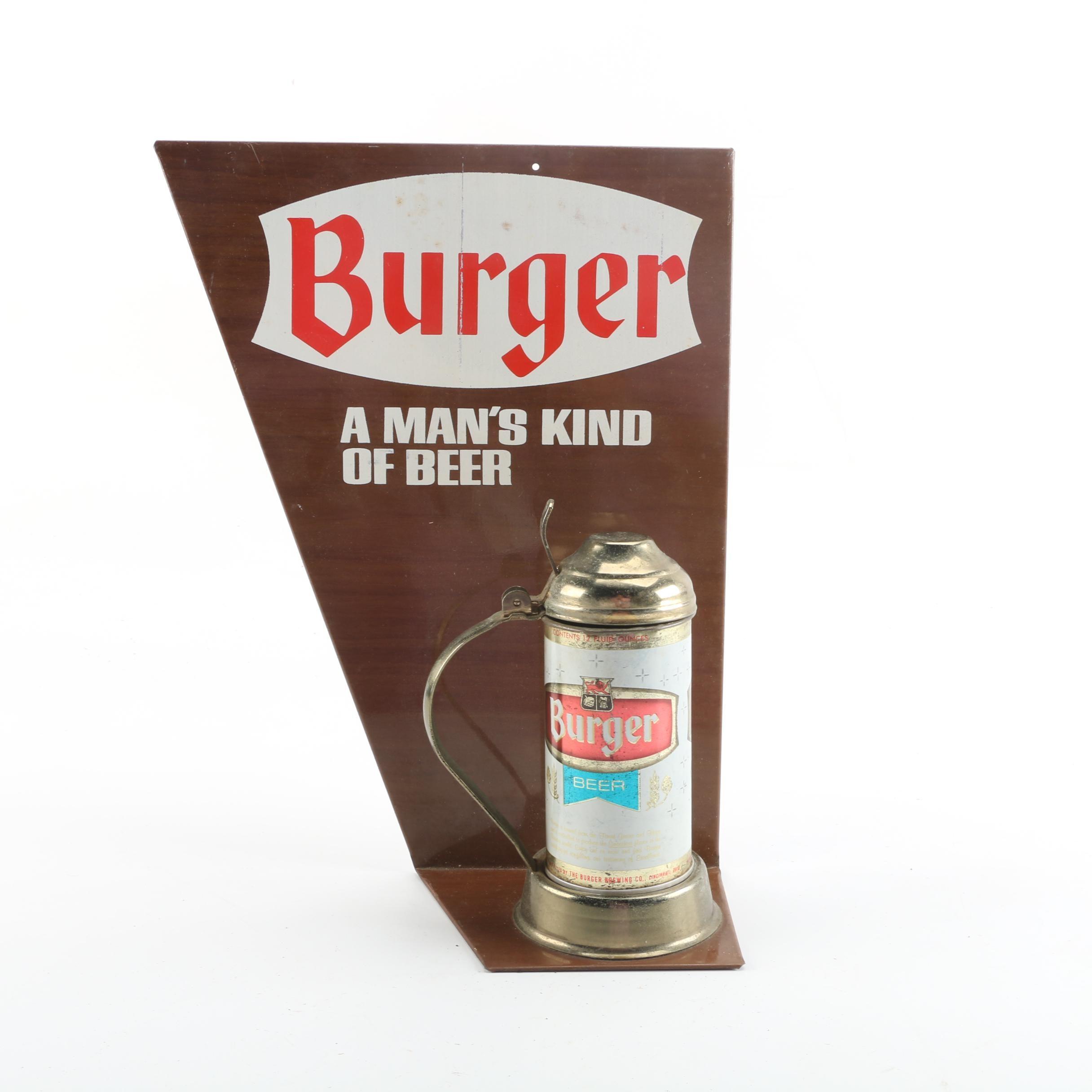 "Vintage Burger Brewing Co. ""A Man's Kind of Beer"" Stein Display"