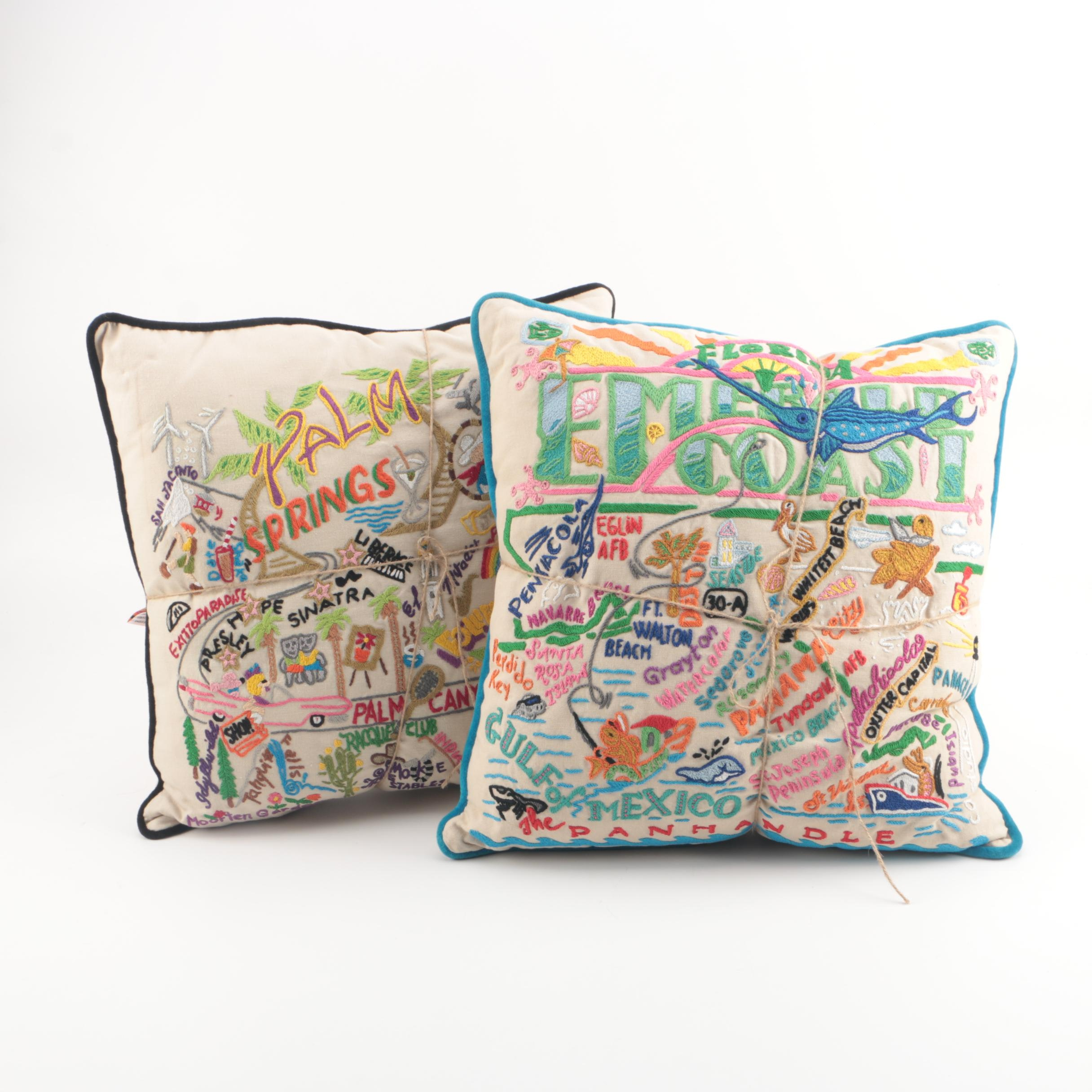 "Catstudio ""Florida Emerald Coast"" and ""Palm Springs"" Hand-Embroidered Pillows"