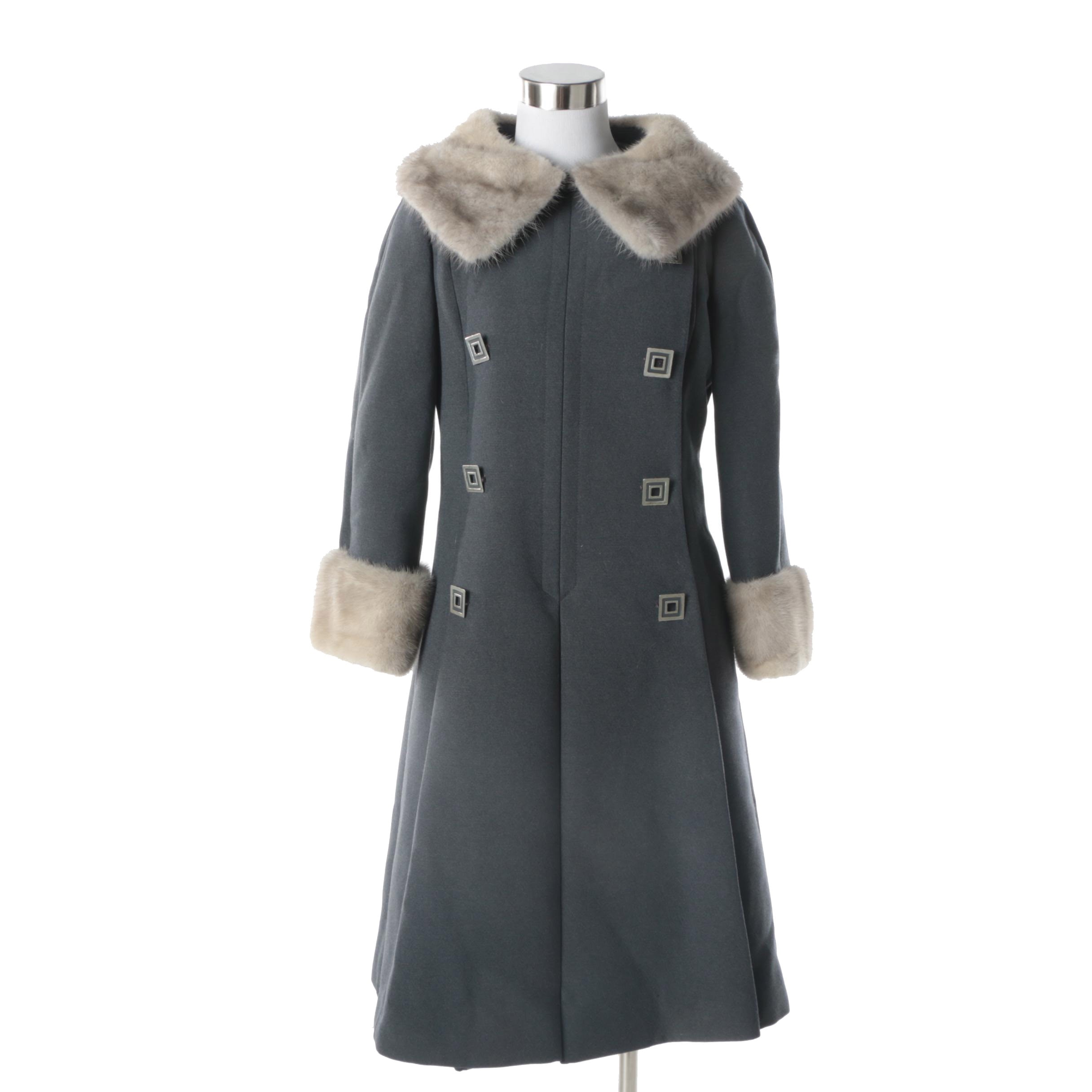 Women's Circa 1960s Vintage Grey Wool Princess Coat with Mink Fur Trim