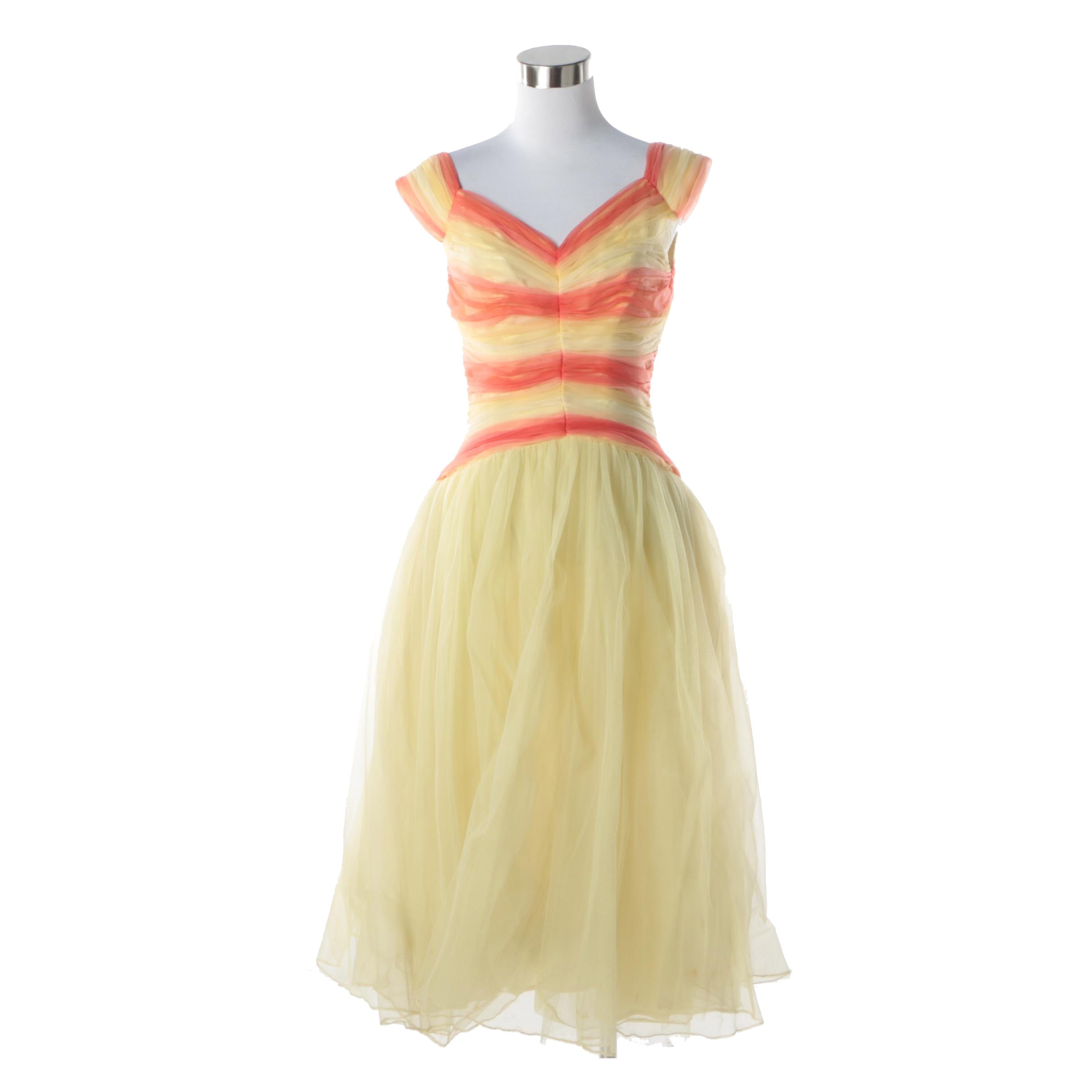 1950s Vintage Fred Perlberg Originals Yellow and Orange Chevron Chiffon Dress