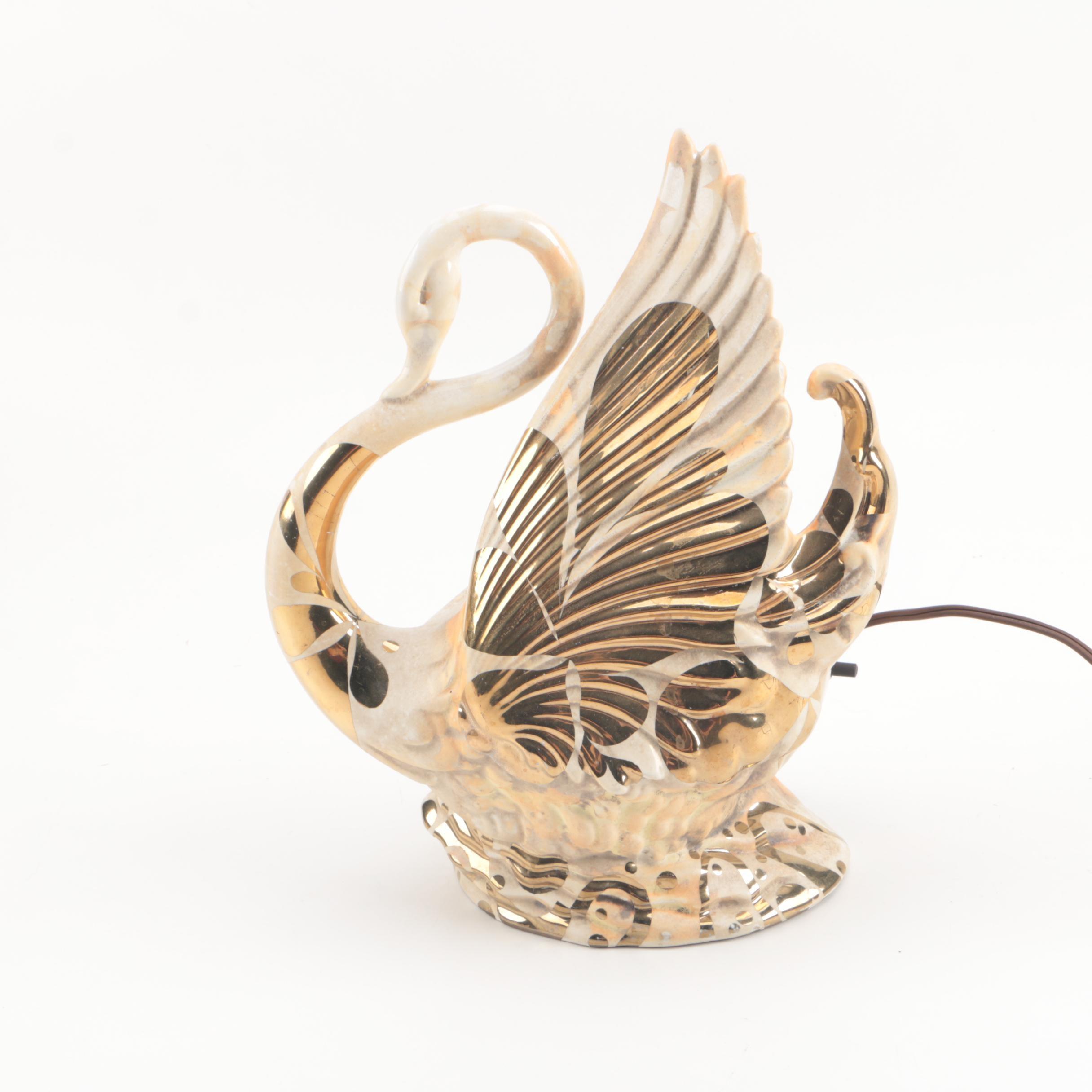 Vintage Maddux of California Ceramic Swan Lamp