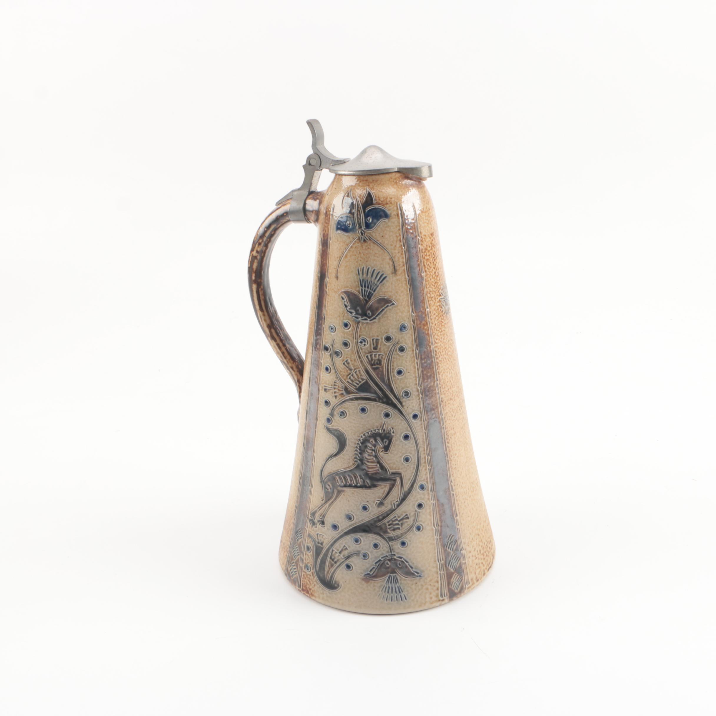 Vintage Stoneware Lidded Stein