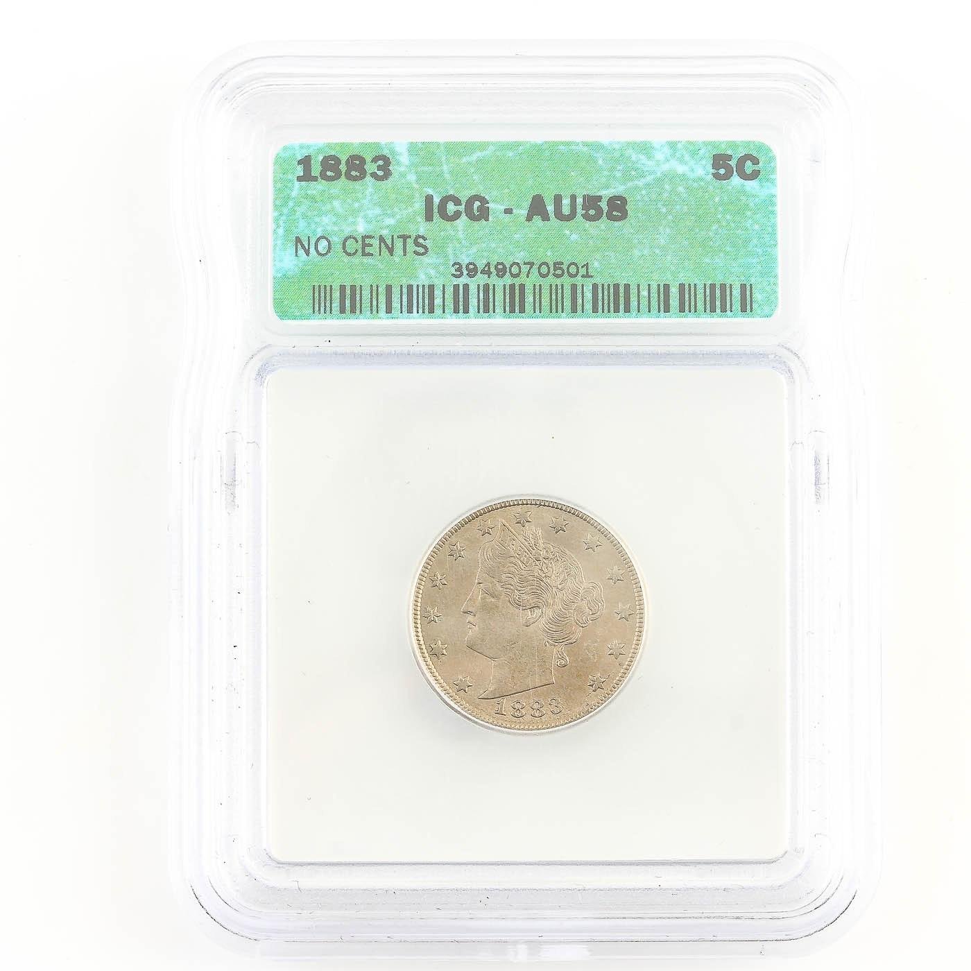 "ICG Graded AU58 1883 Liberty ""V"" Nickel Without Cents"