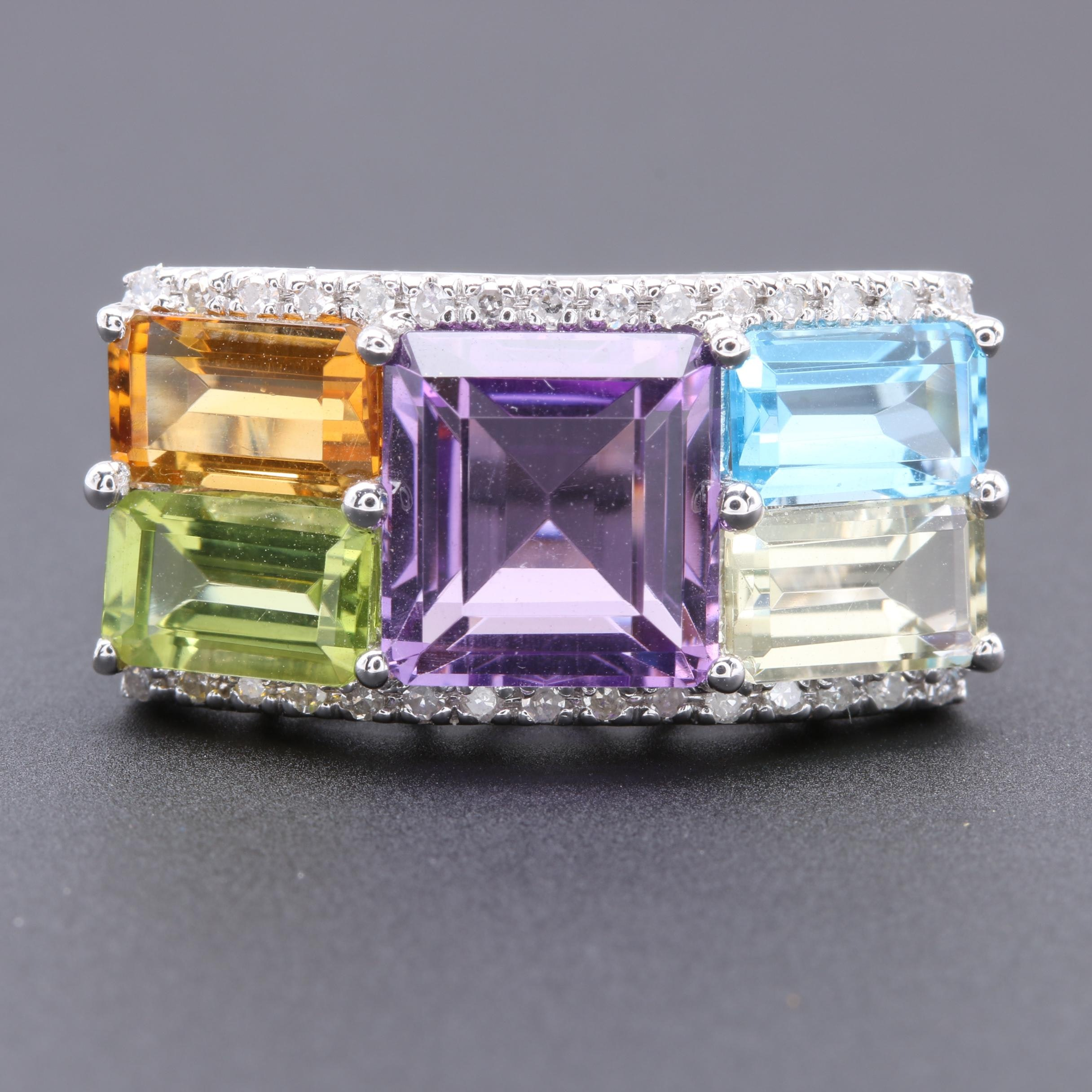 14K White Gold Amethyst, Diamond and Gemstone Ring