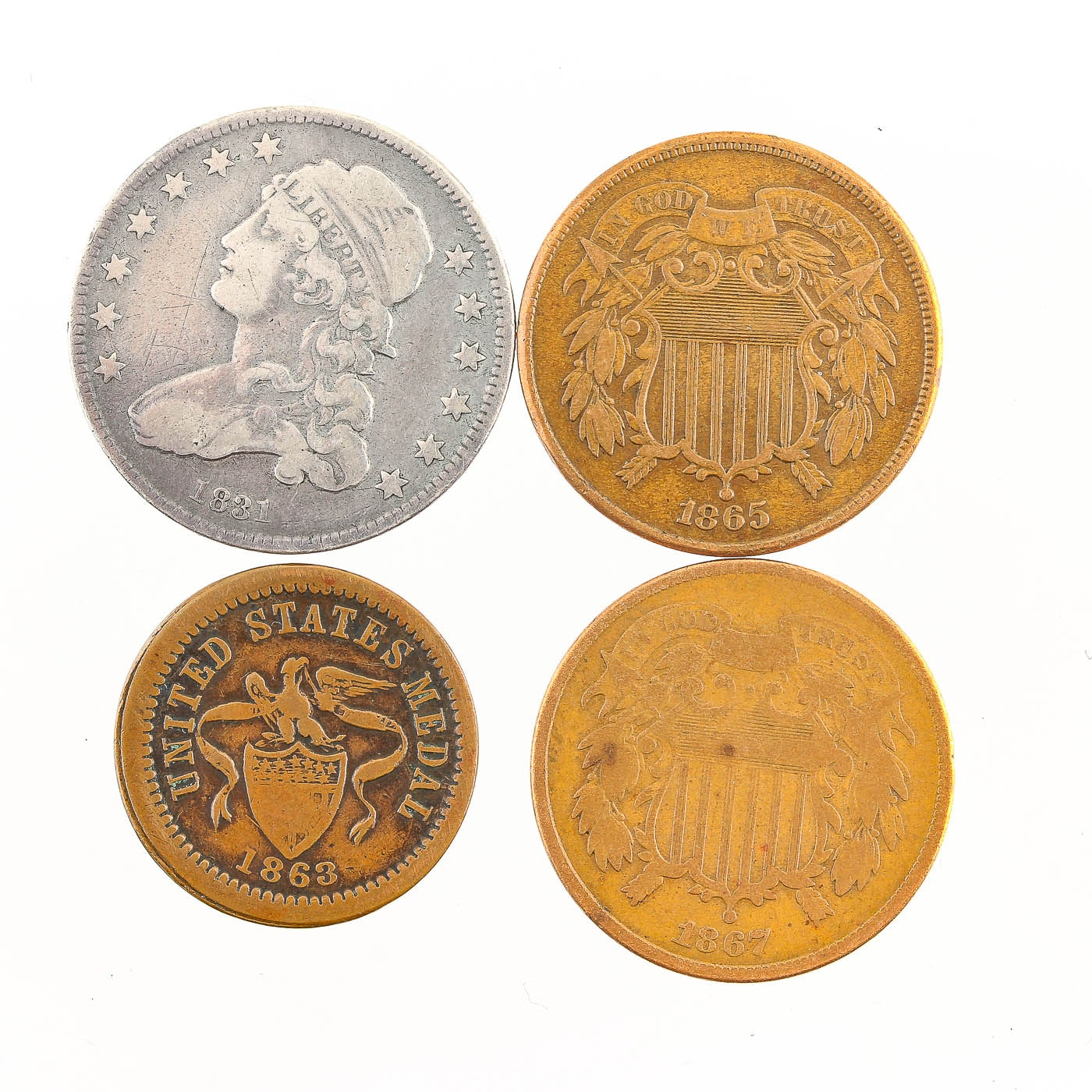 Group of Four Various Antique U.S. Coins