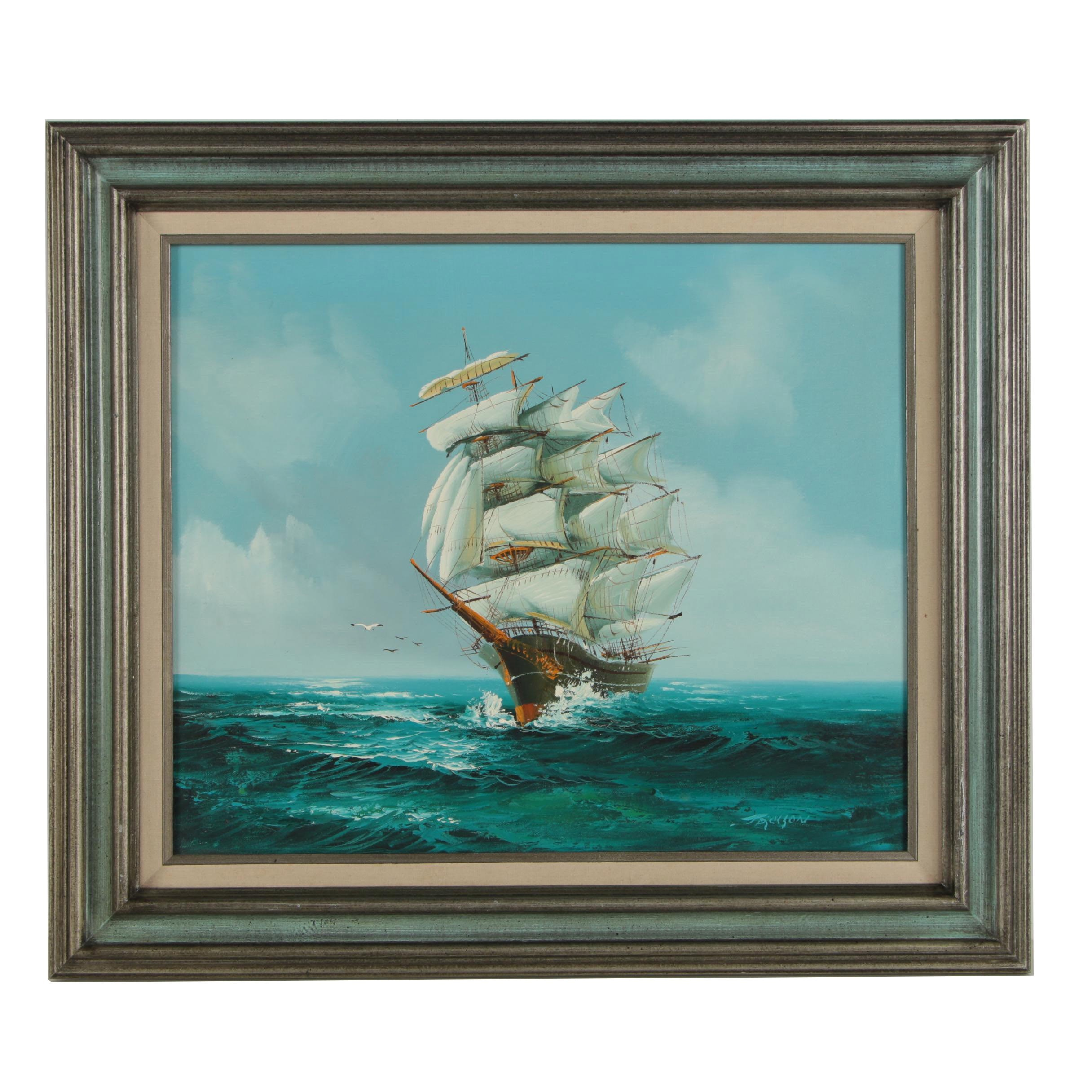 Jackson Oil Painting of a Clipper Ship