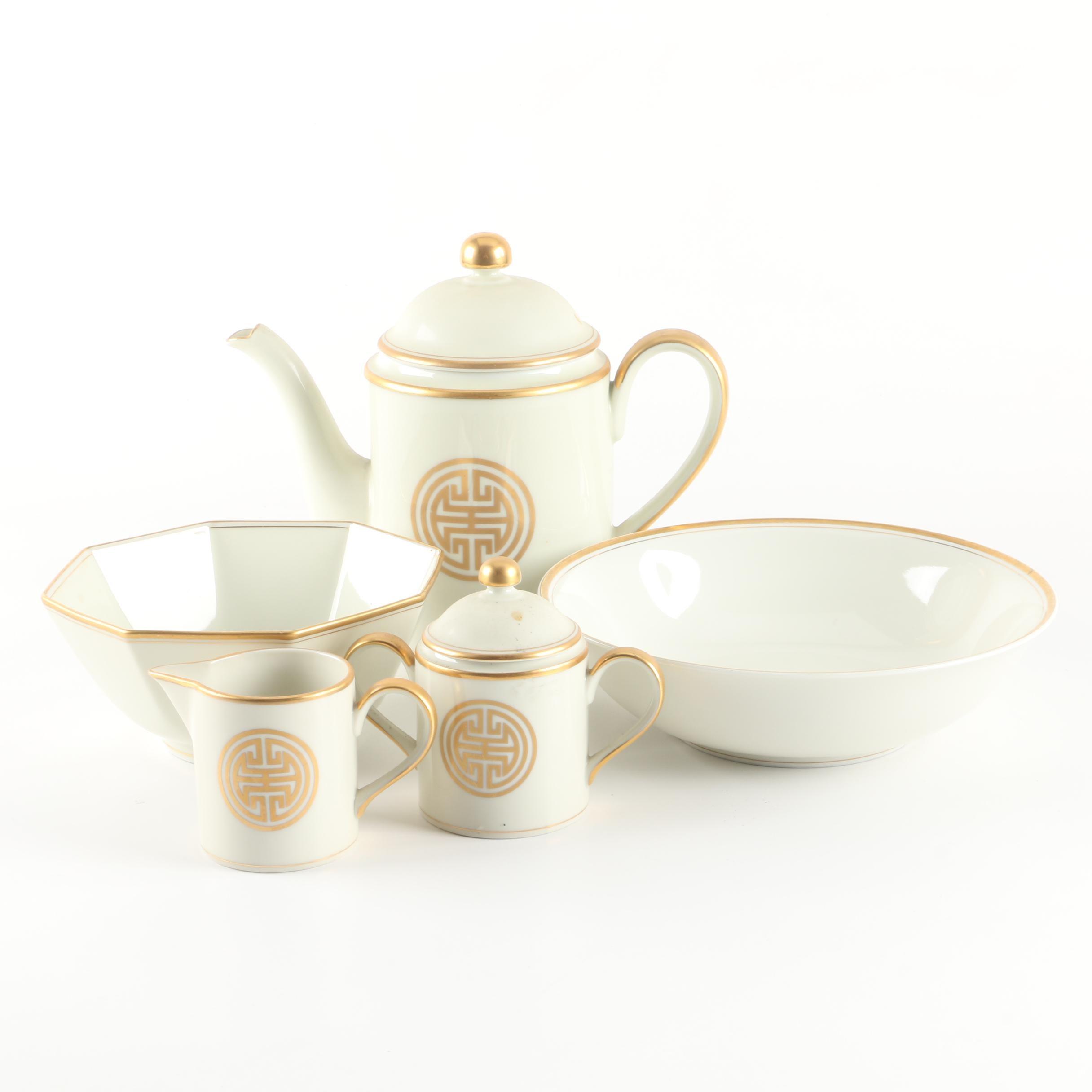 "Fitz and Floyd Porcelain ""Gold Mandarin Crest"" Serveware"