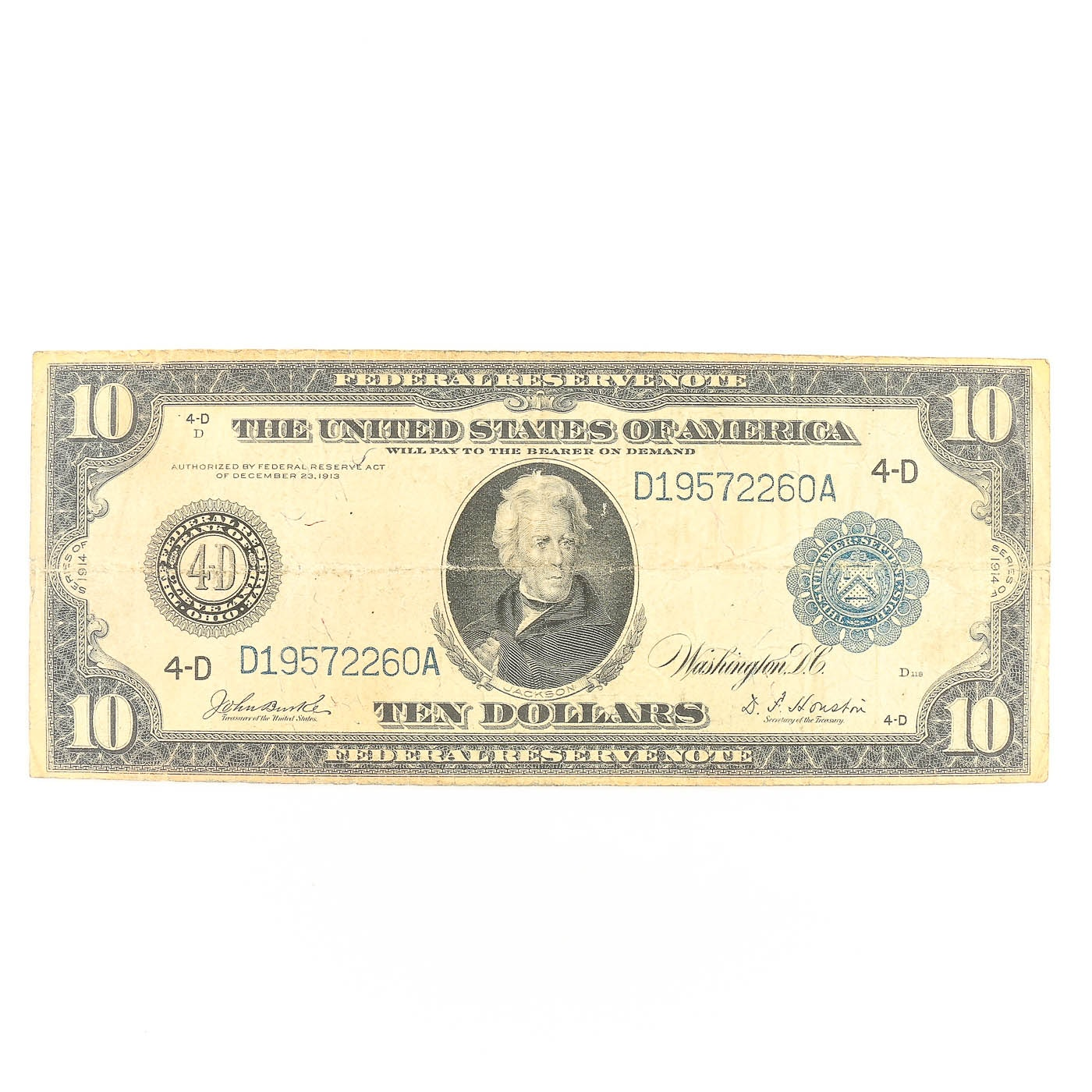 Series of 1914 Blue Seal $10 United States Federal Reserve Note