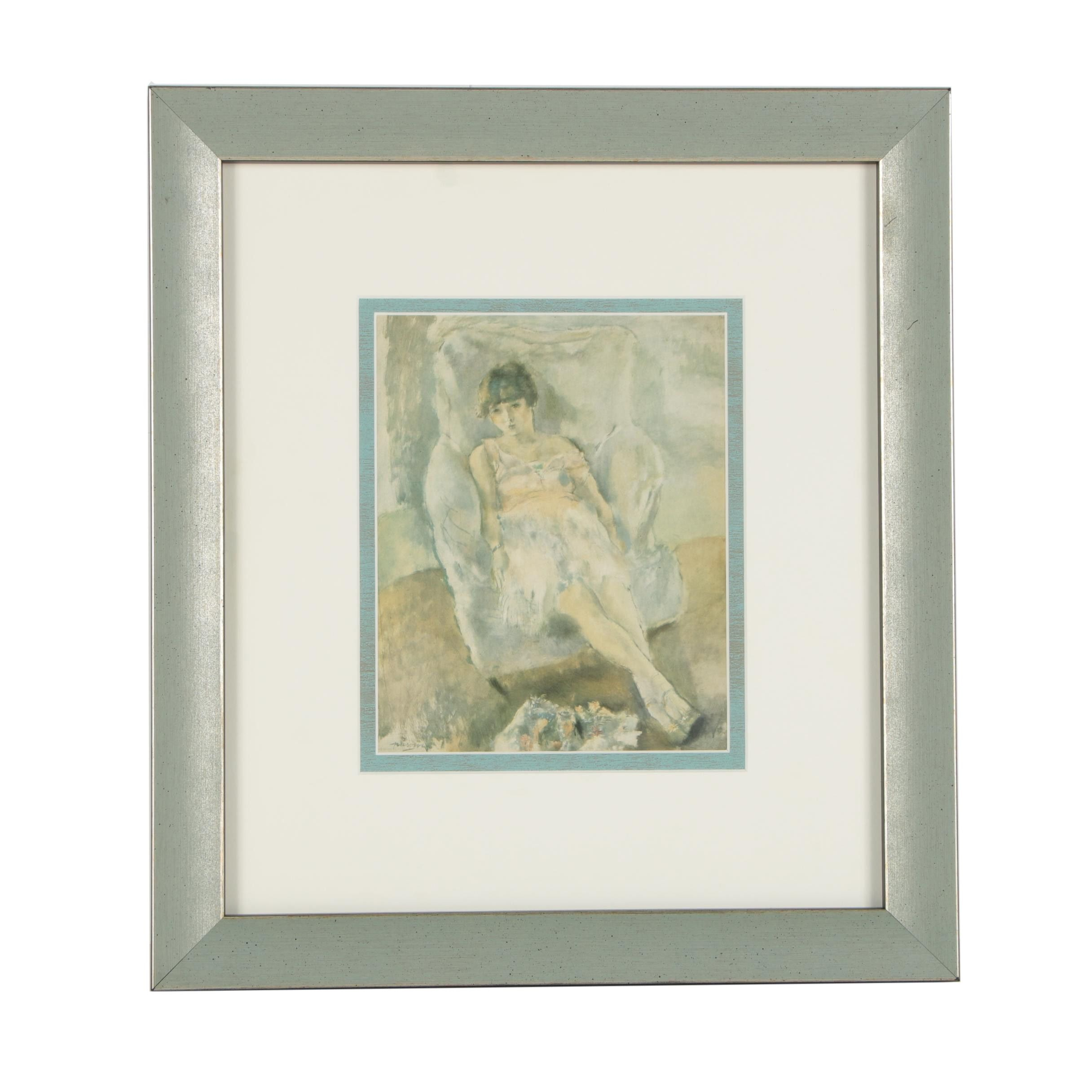 "Framed Offset Lithograph After Jules Pascin's ""Bibi"""