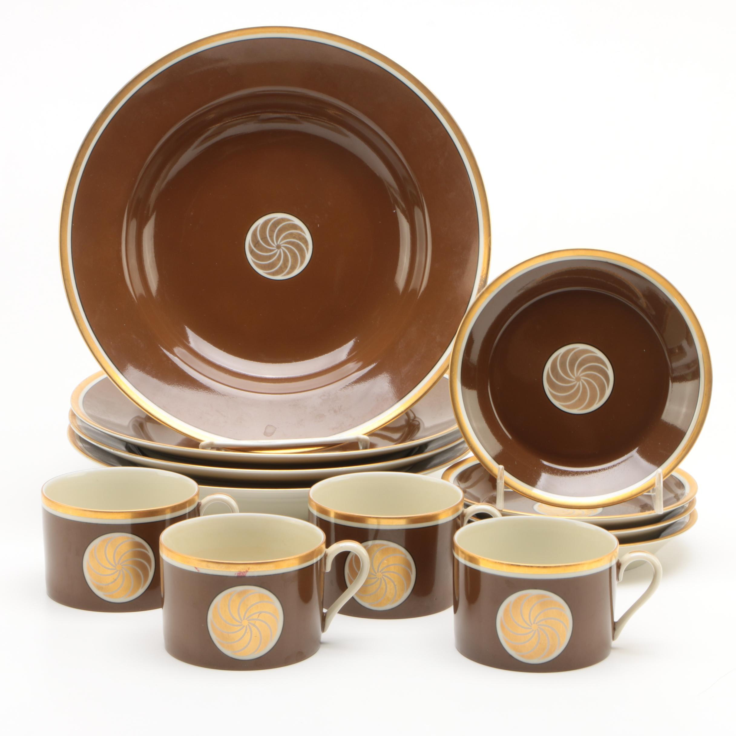 """Fitz and Floyd """"Medaillon d' Or"""" Dinnerware Set for Four"""