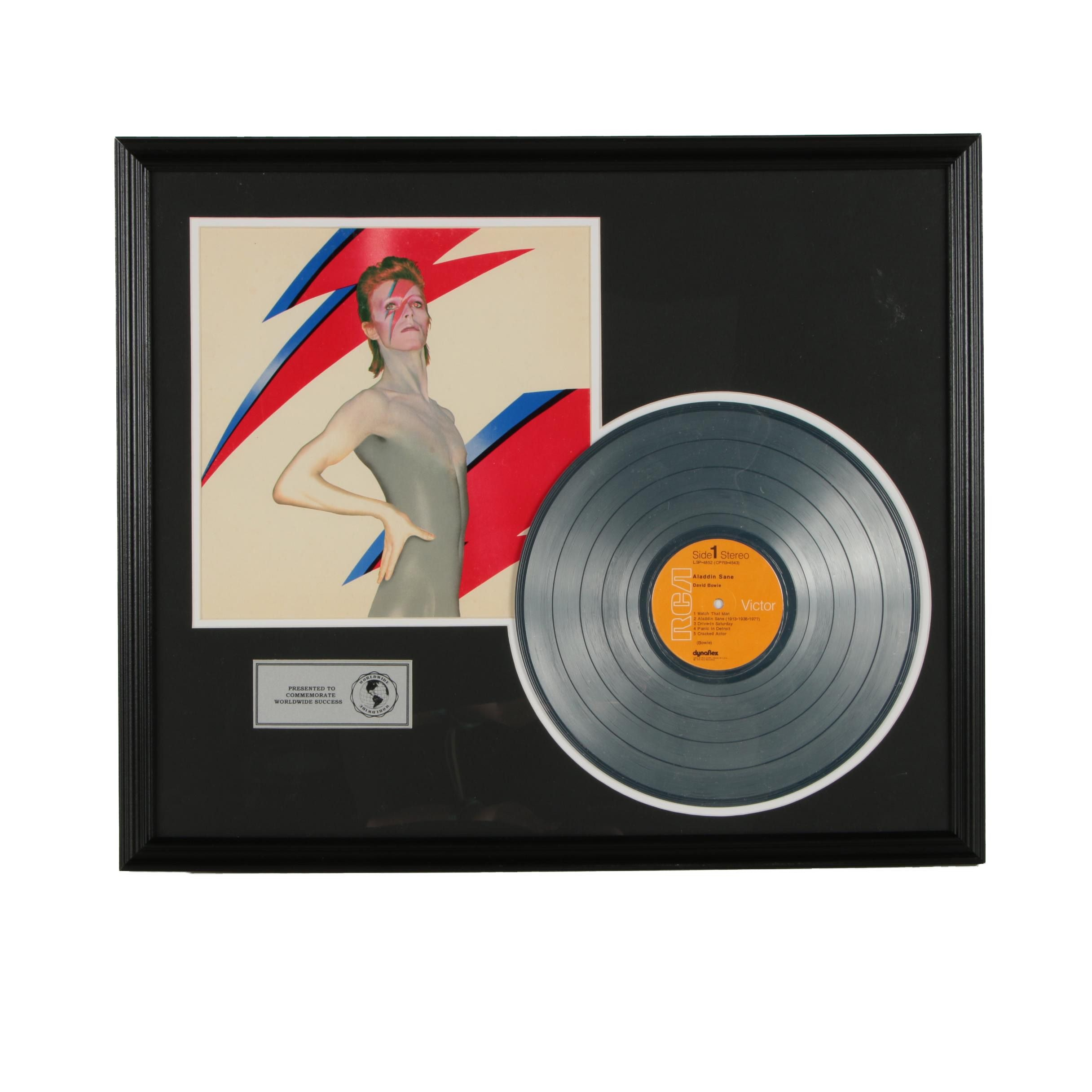 "Framed David Bowie ""Aladdin Sane"" Metalized Record and Photo"
