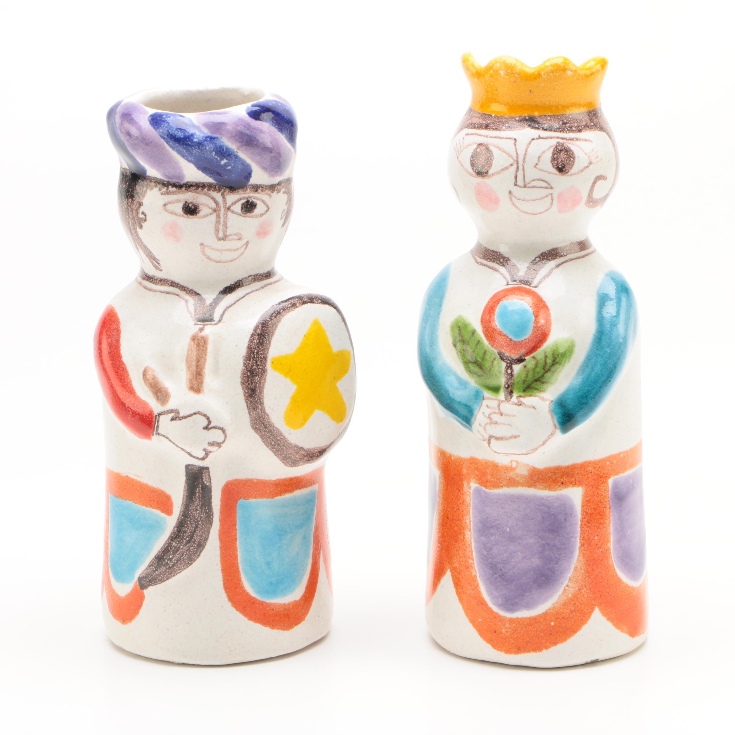 De Simone Italian Ceramic King and Queen Figural Vases