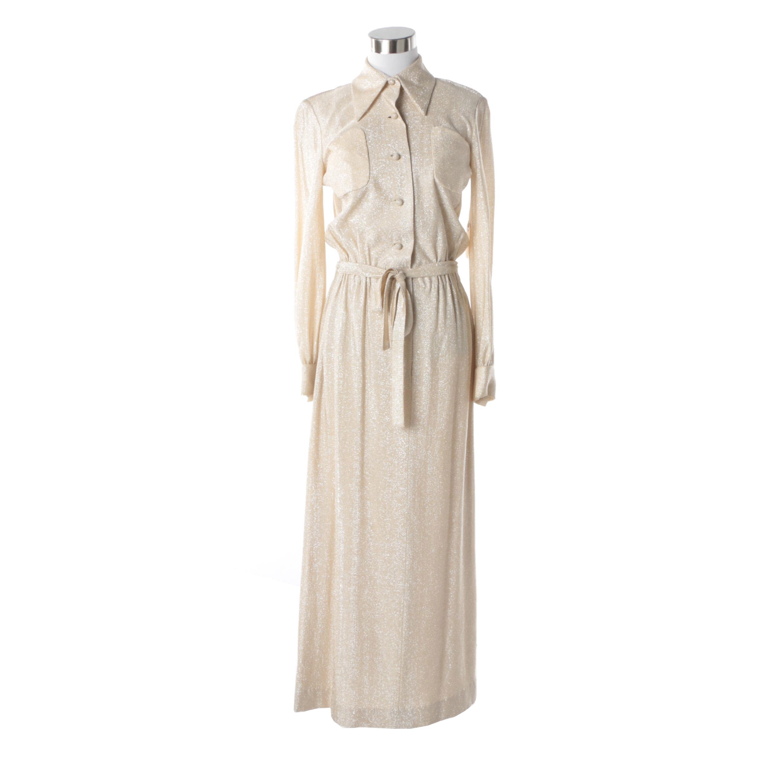 Women's 1970s Vintage Geoffrey Beene Champagne and Metallic Knit Maxi Dress