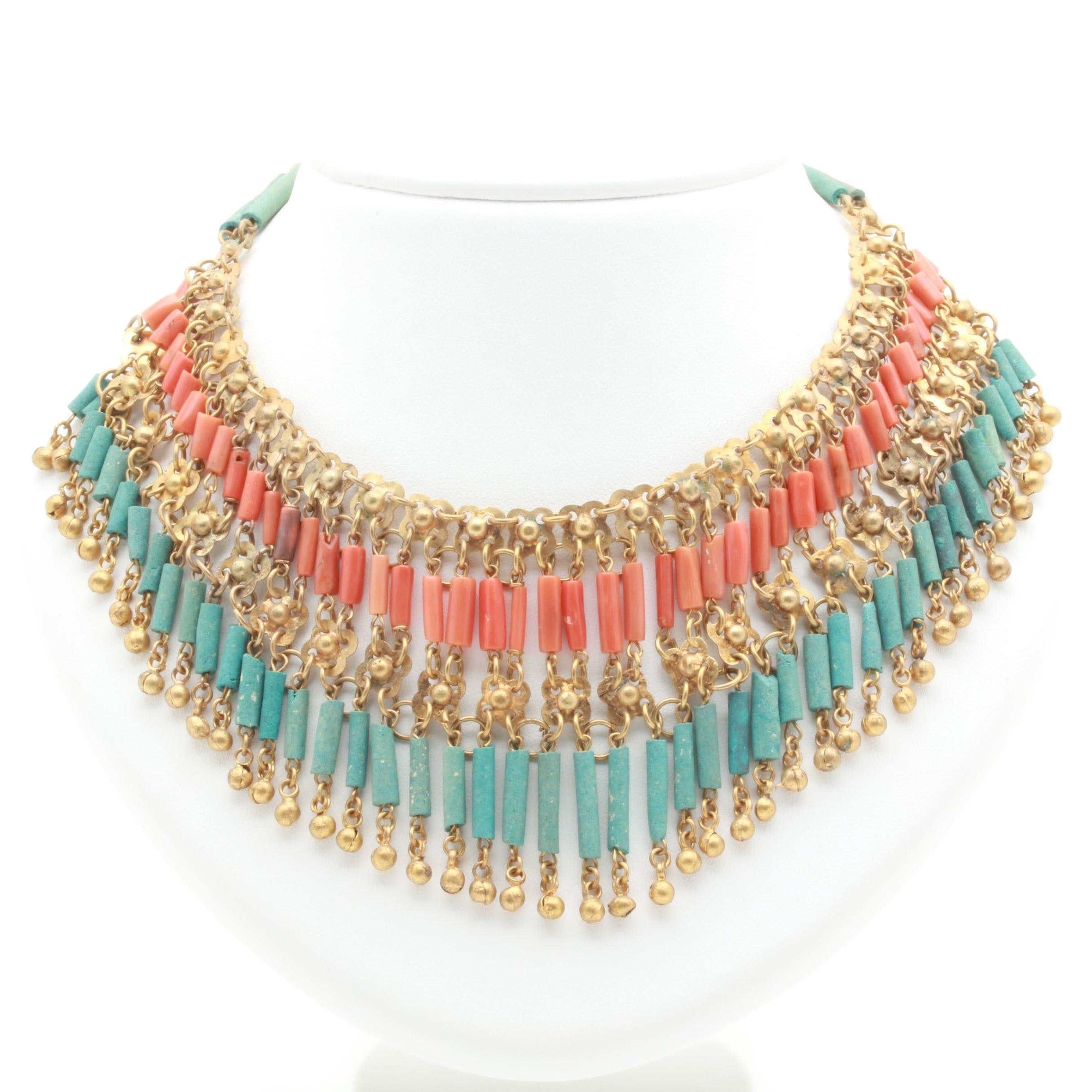 Cica 1920s-1930s Egyptian Revival Coral and Faience Necklace