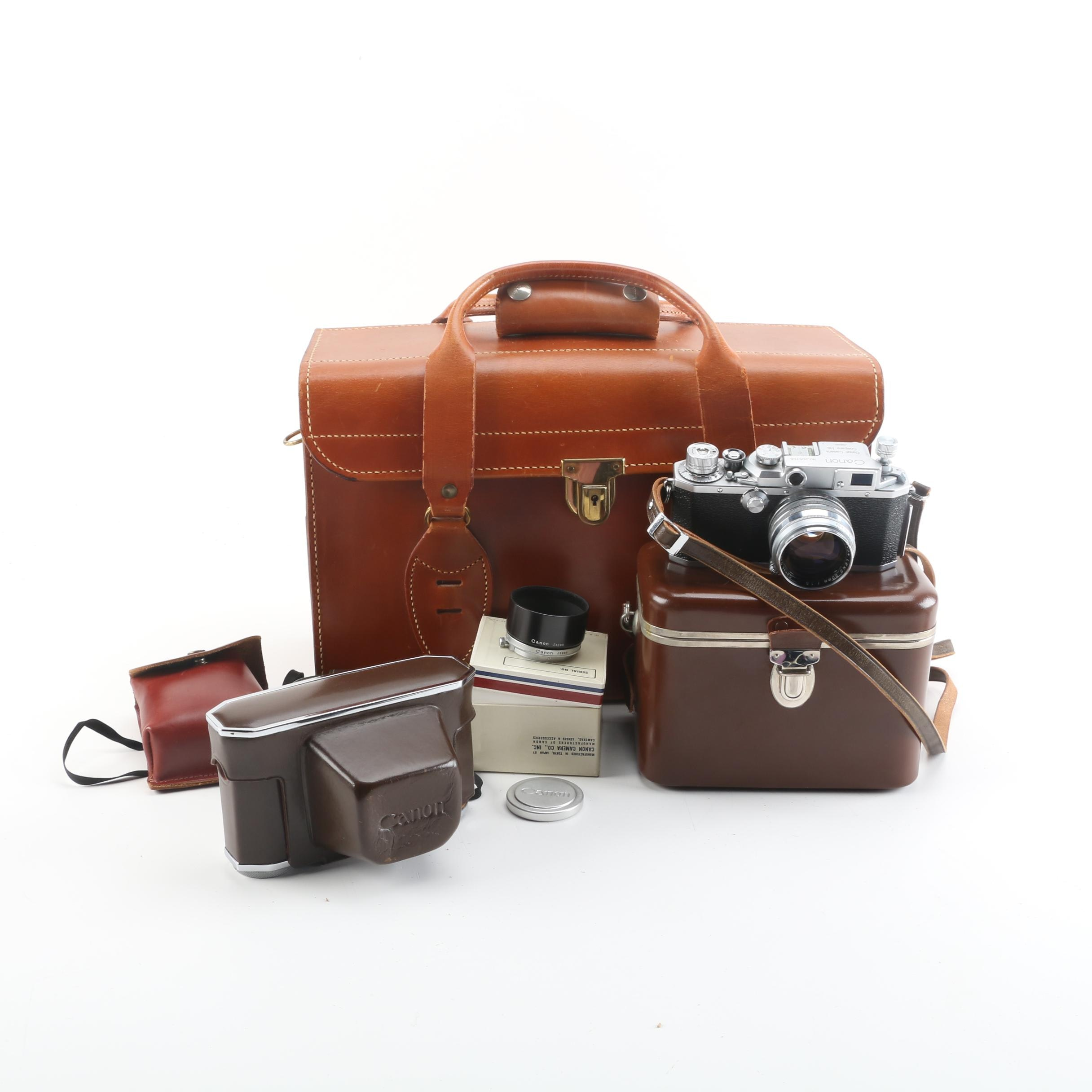 Vintage Canon Still Camera, Leather Cases, and Accessories