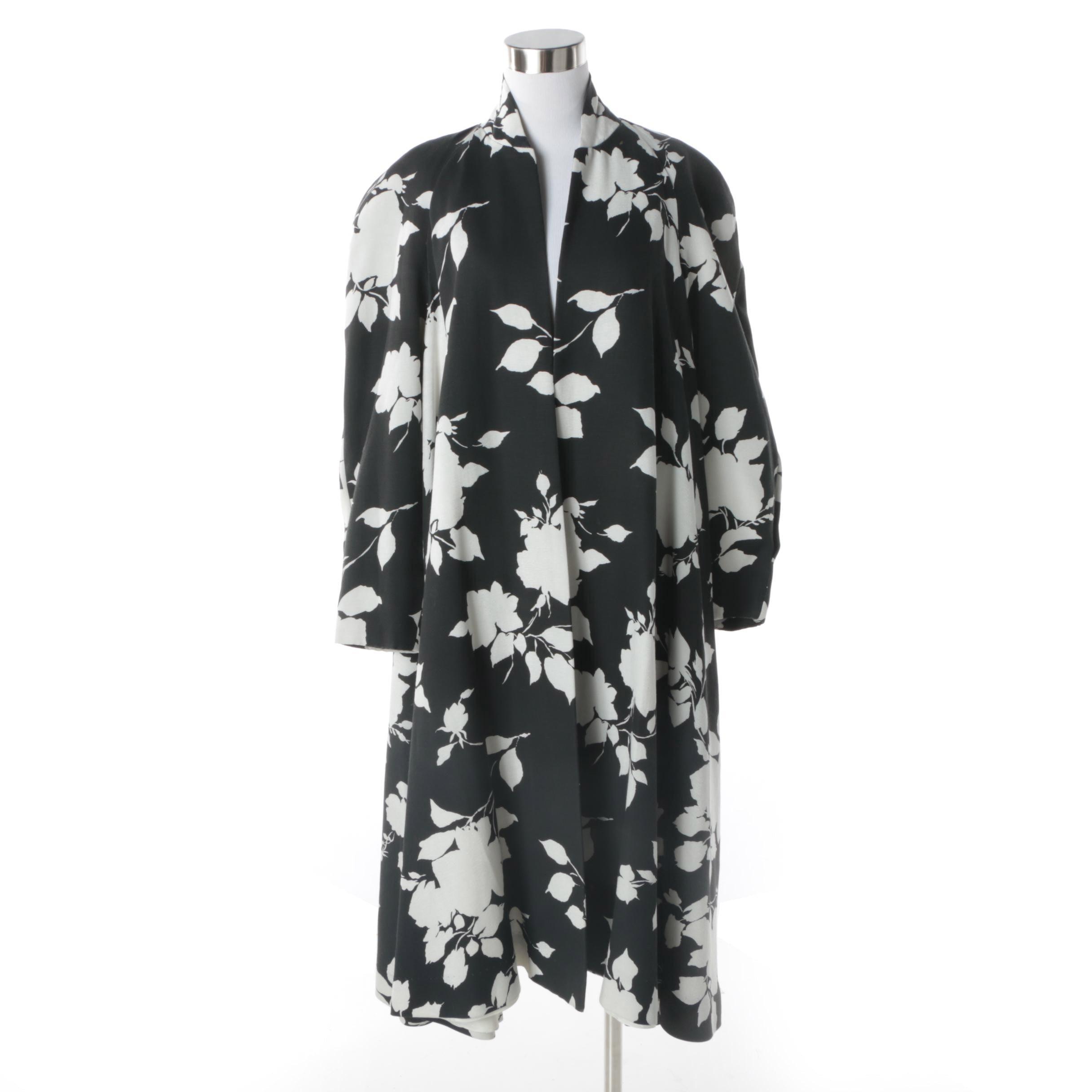Women's Circa 1980s Victor Costa Black and White Floral Print Opera Coat