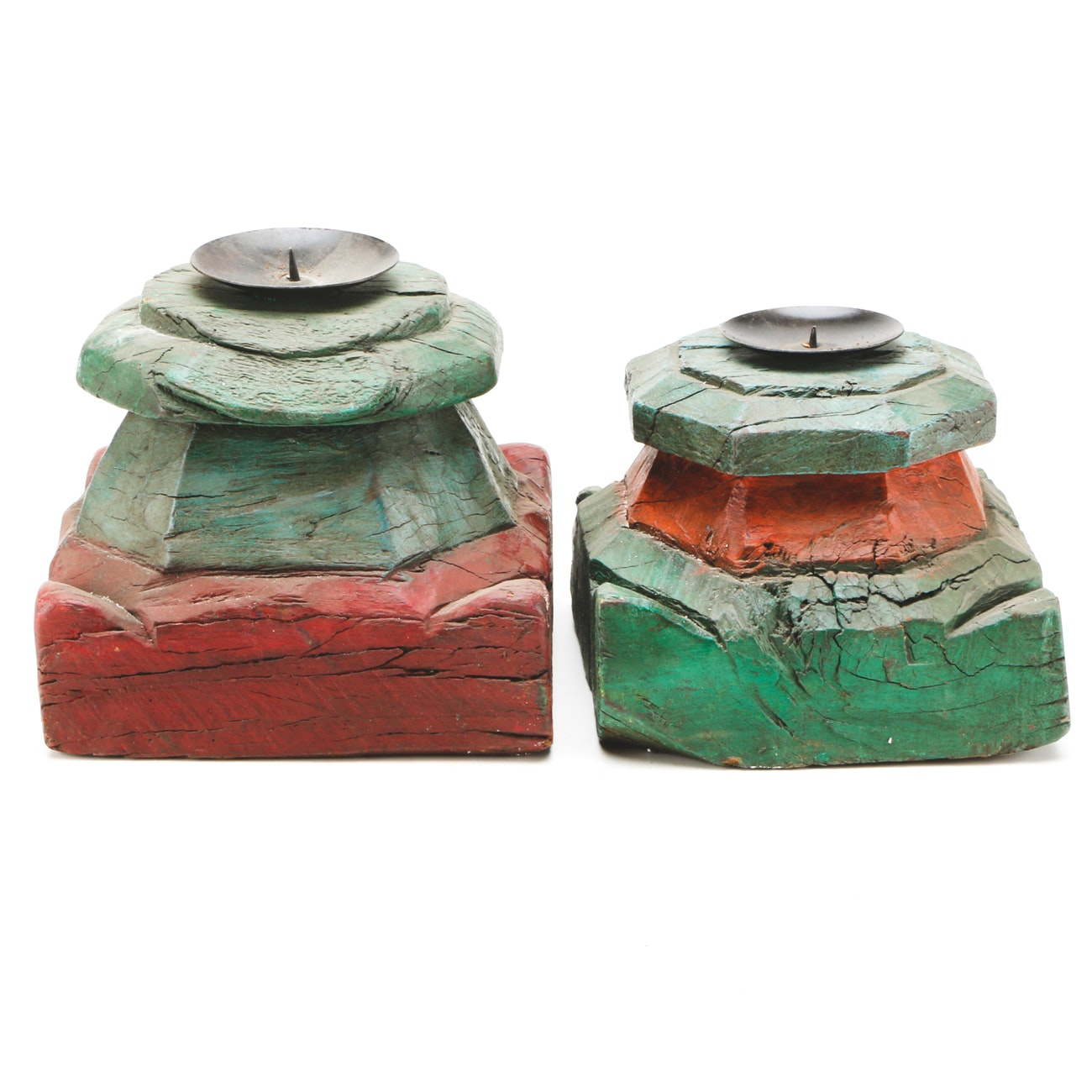 Converted Pricket Candleholders from Painted Column Bases