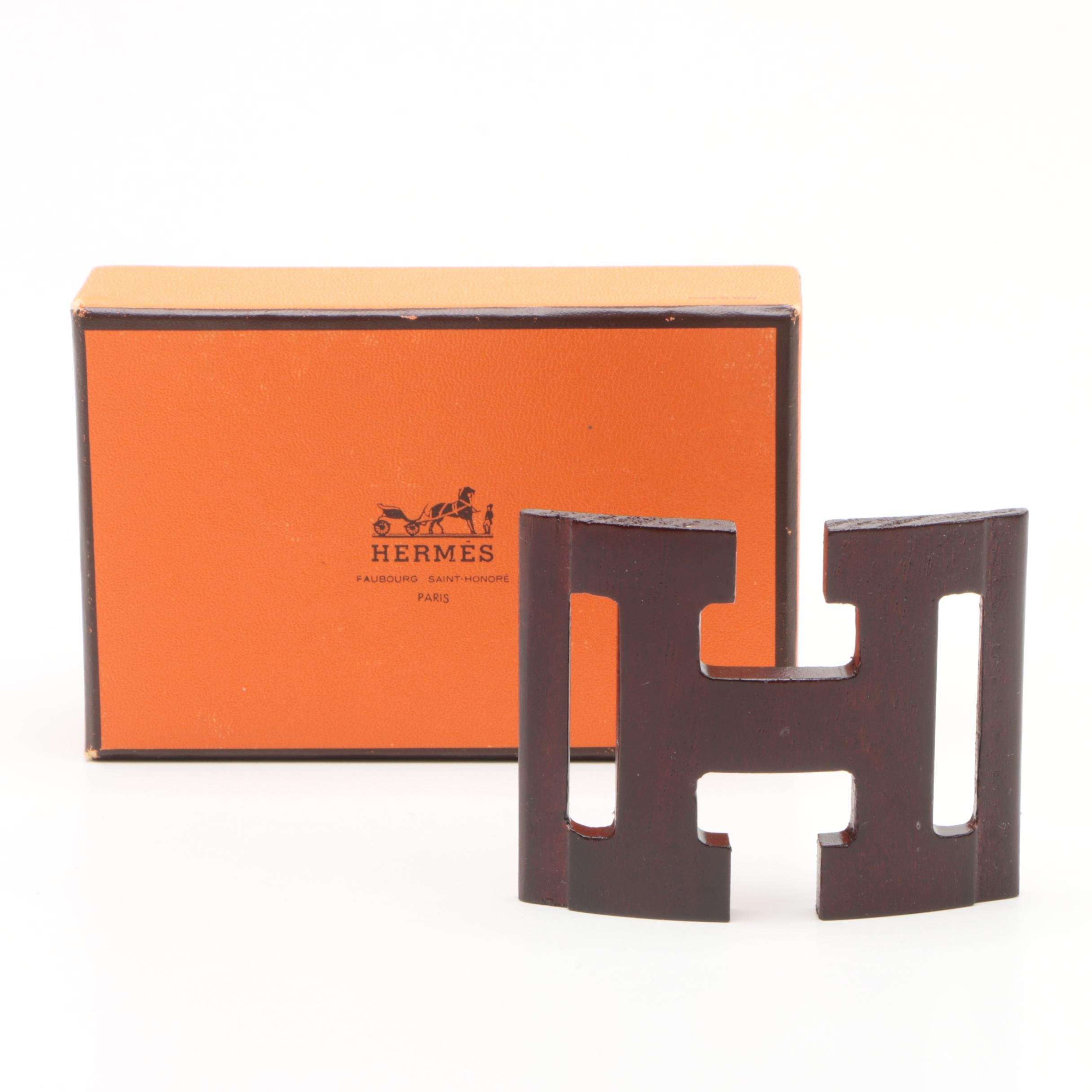 Vintage Hermès of Paris Wooden Scarf/Belt Buckle