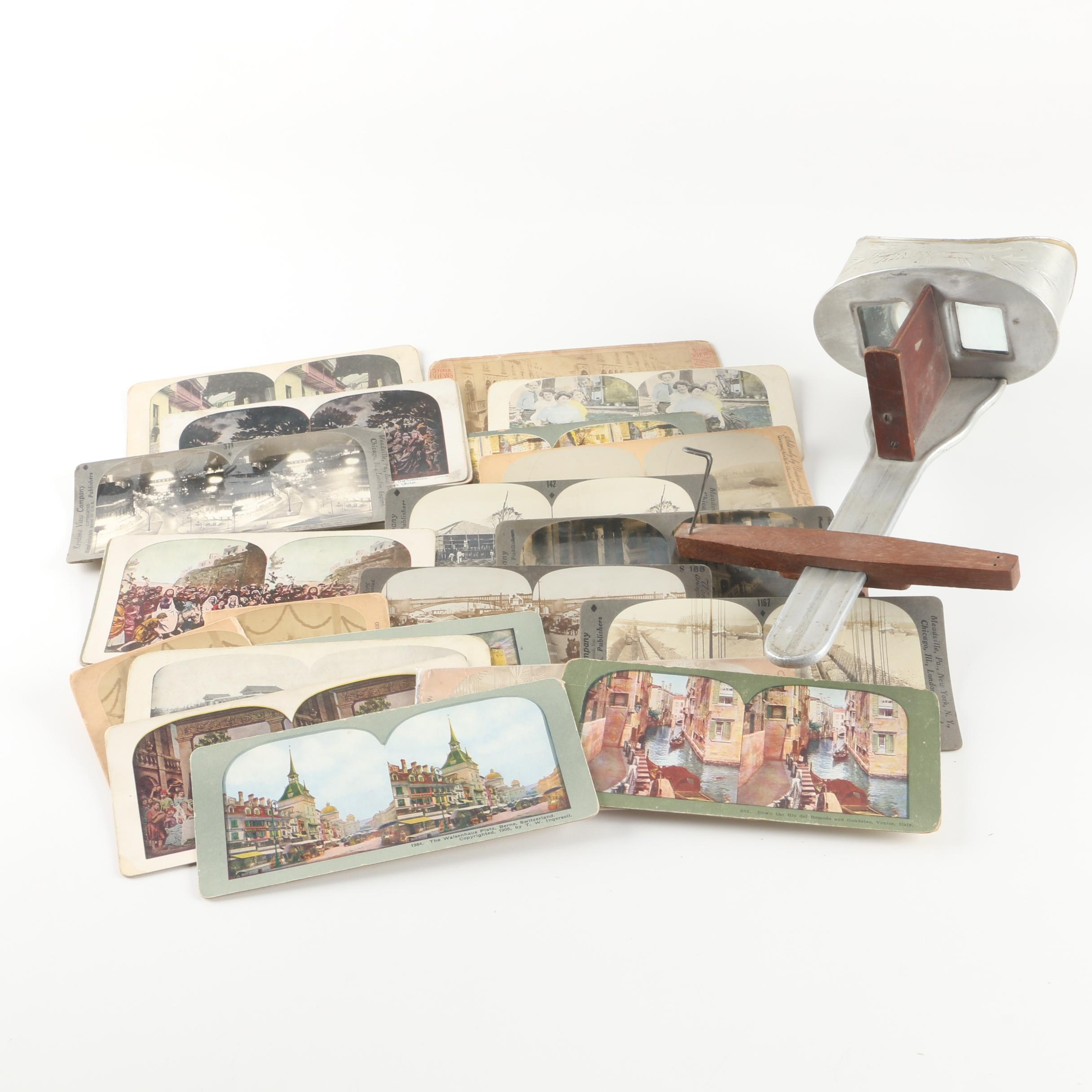 Antique Stereoscope with Slides