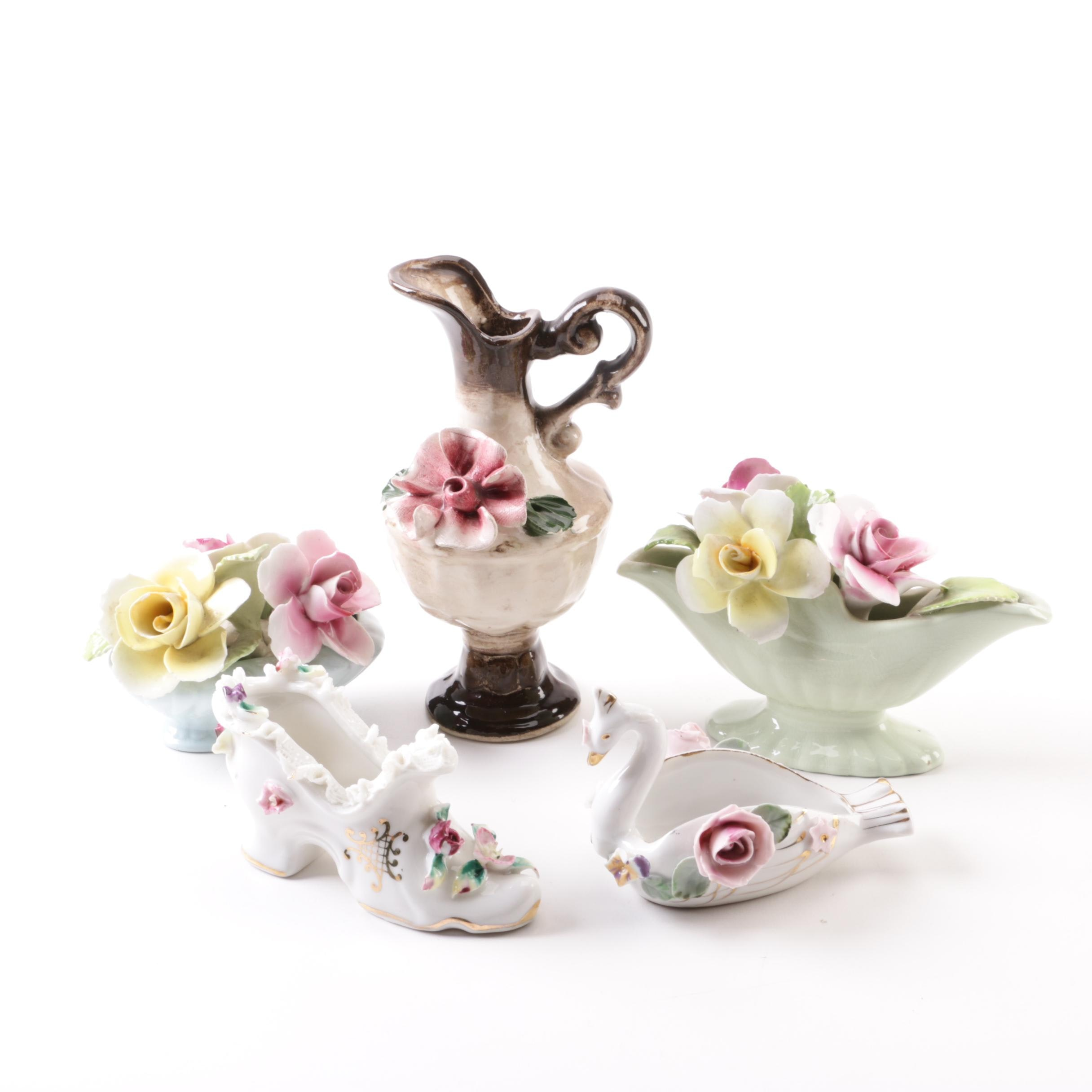 Bone China and Ceramic Floral Figurines and Vase