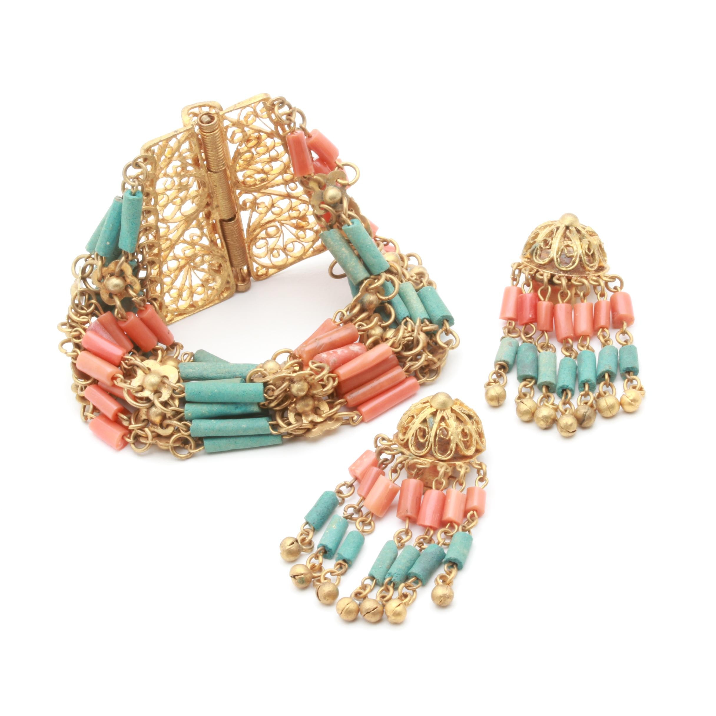 Circa 1920s-1930s Egyptian Revival Faience and Coral Demi Parure