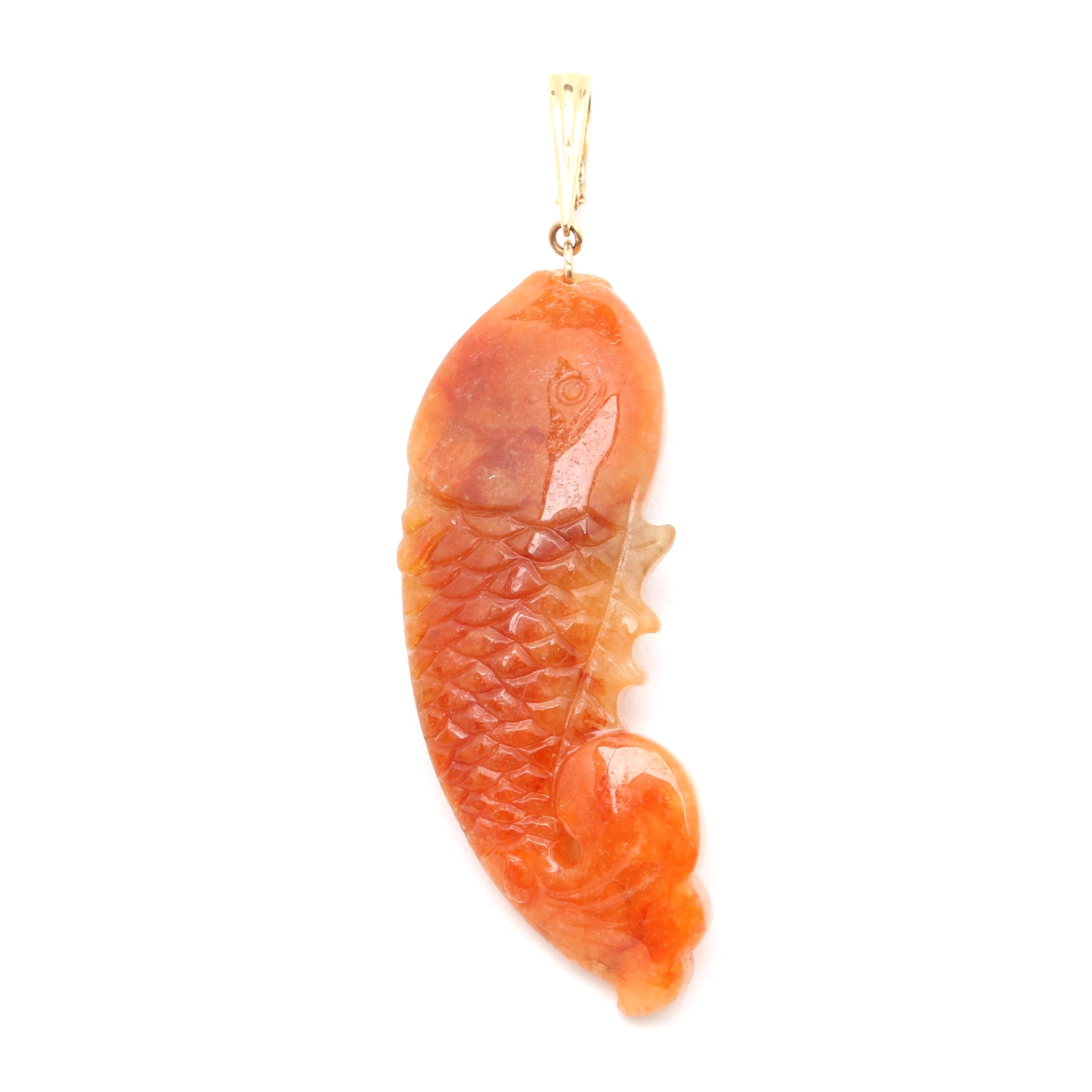 14K Yellow Gold Carved Koi Fish Jadeite Pendant
