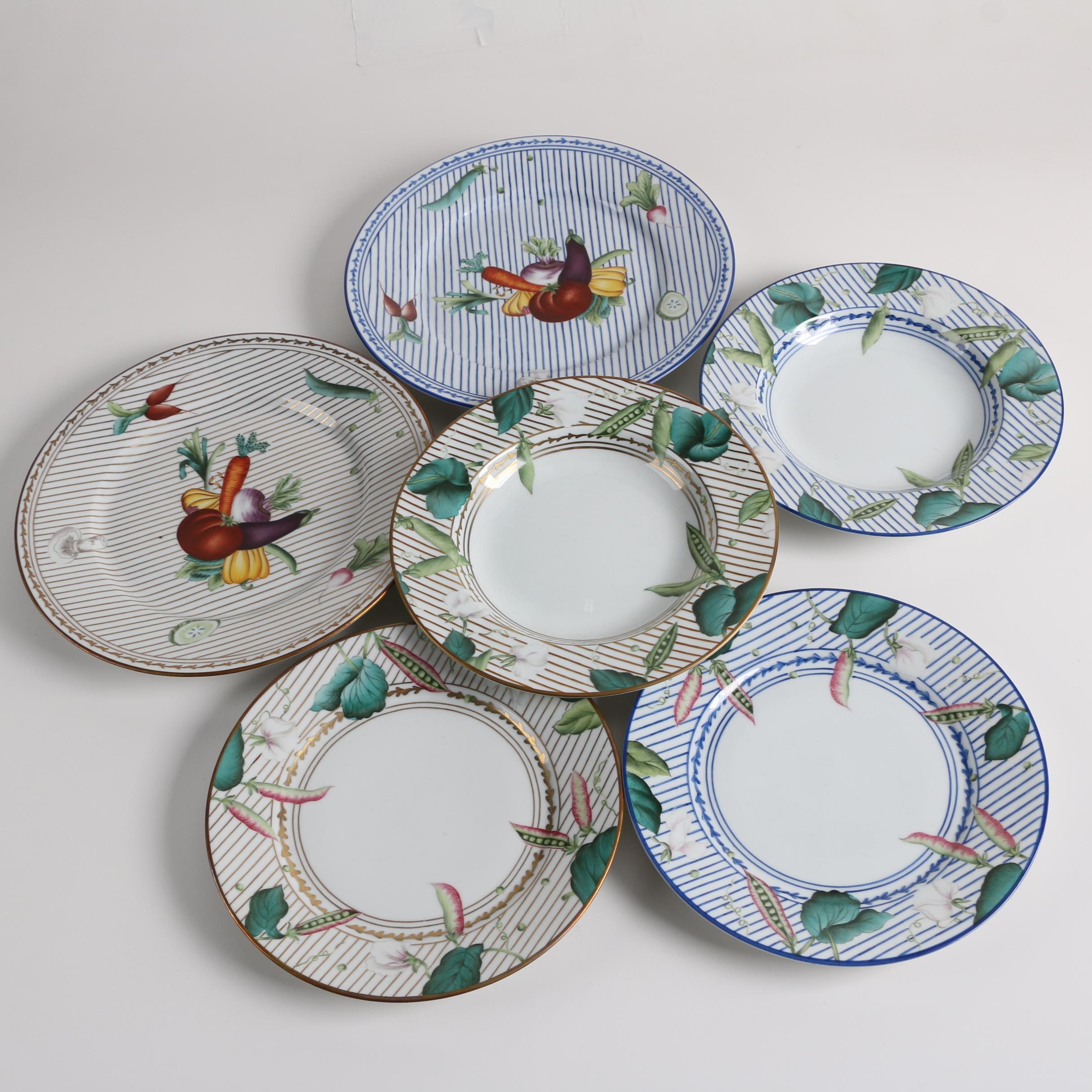 "Alberto Pino Limoges ""Potager Blue"" and ""Potager Gold"" Porcelain Dinnerware"