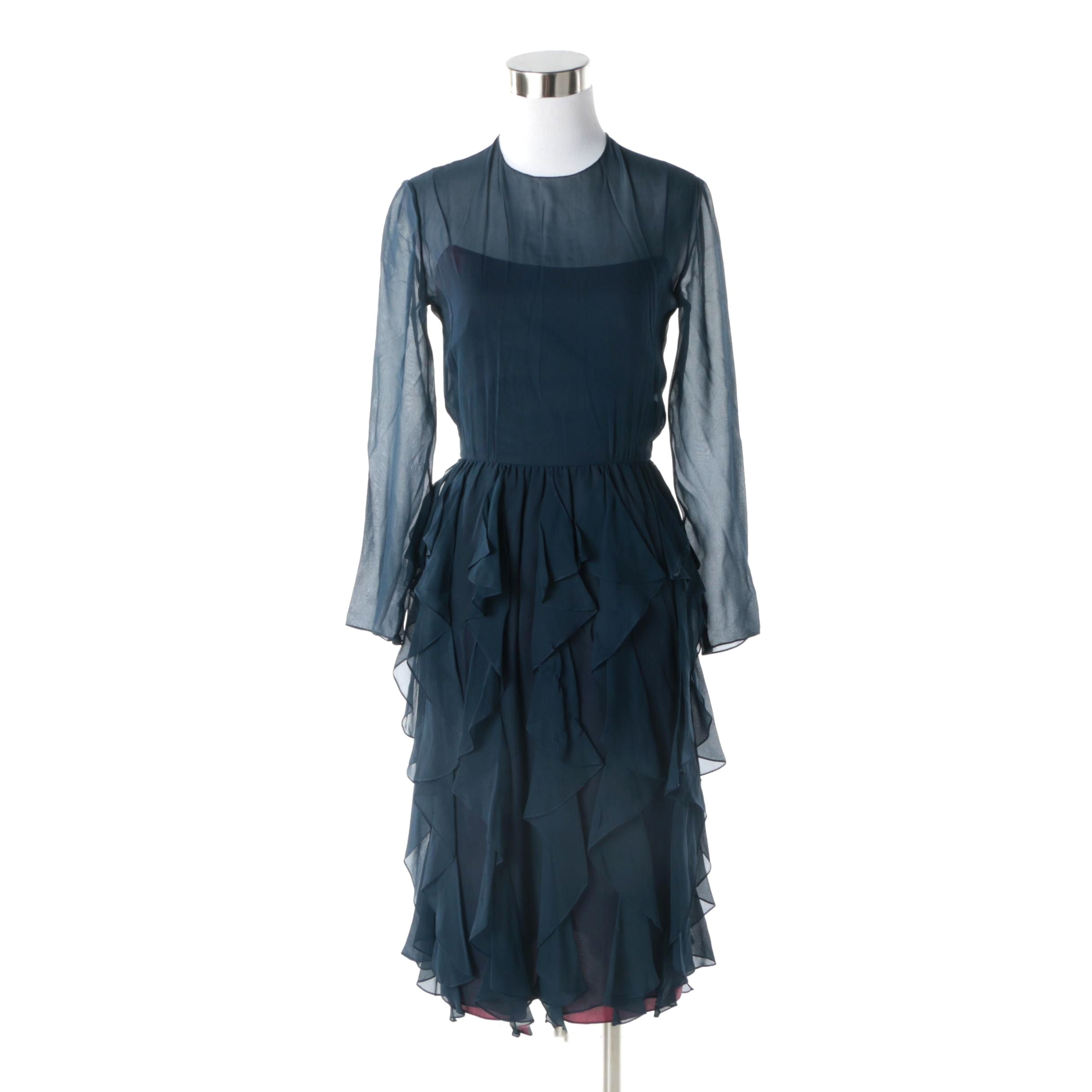 1970s Bill Blass Navy Silk Chiffon Flounce Evening Dress with Illusion Bodice