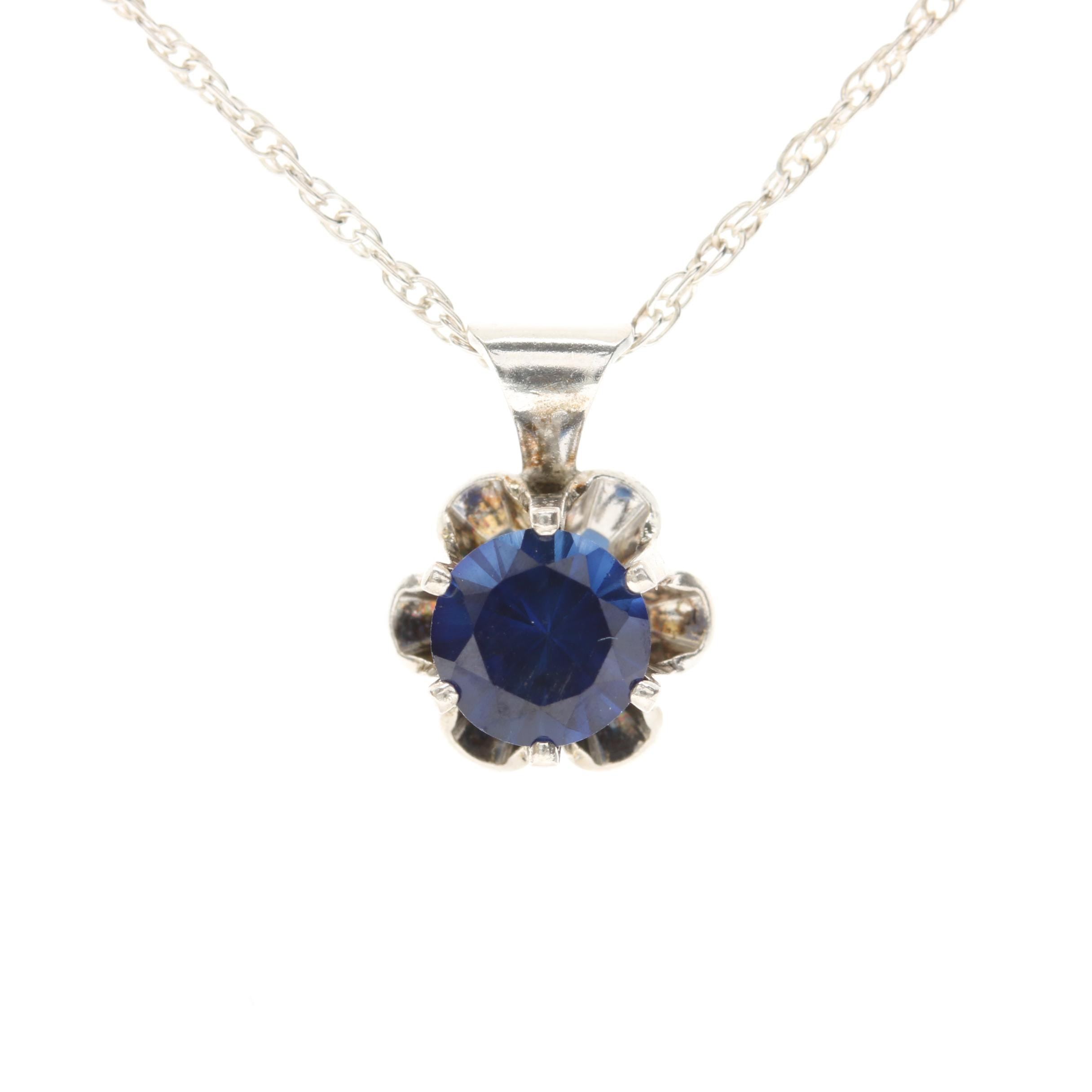 Sterling Silver Synthetic Blue Sapphire Necklace