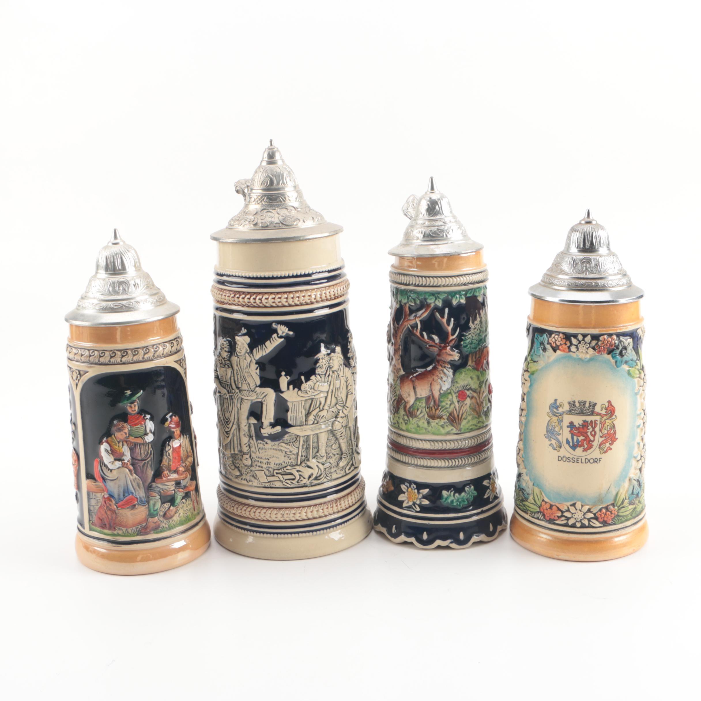 Vintage German Ceramic Beer Steins Featuring Marzi and Remy