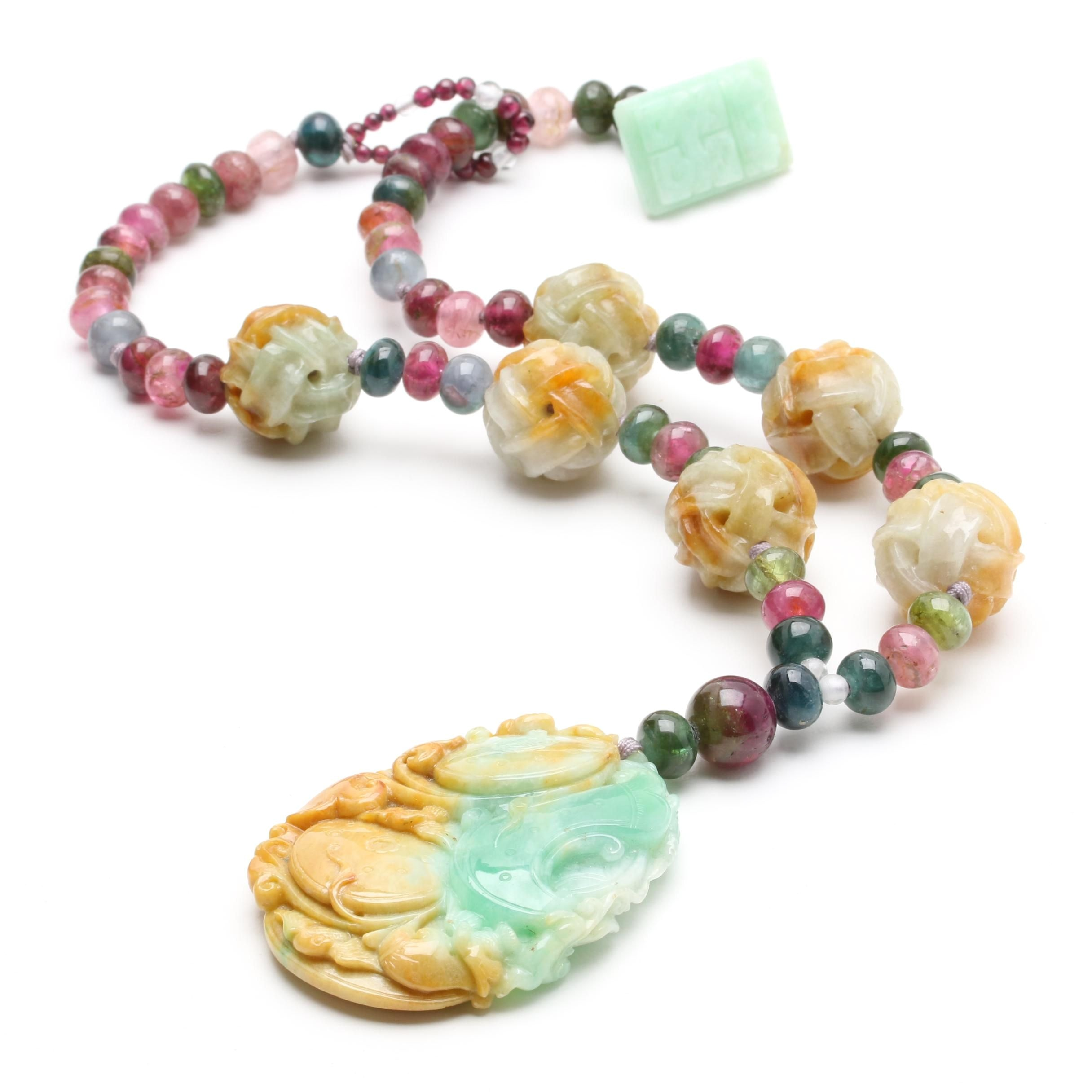 Asian Inspired Carved Gemstone Necklace
