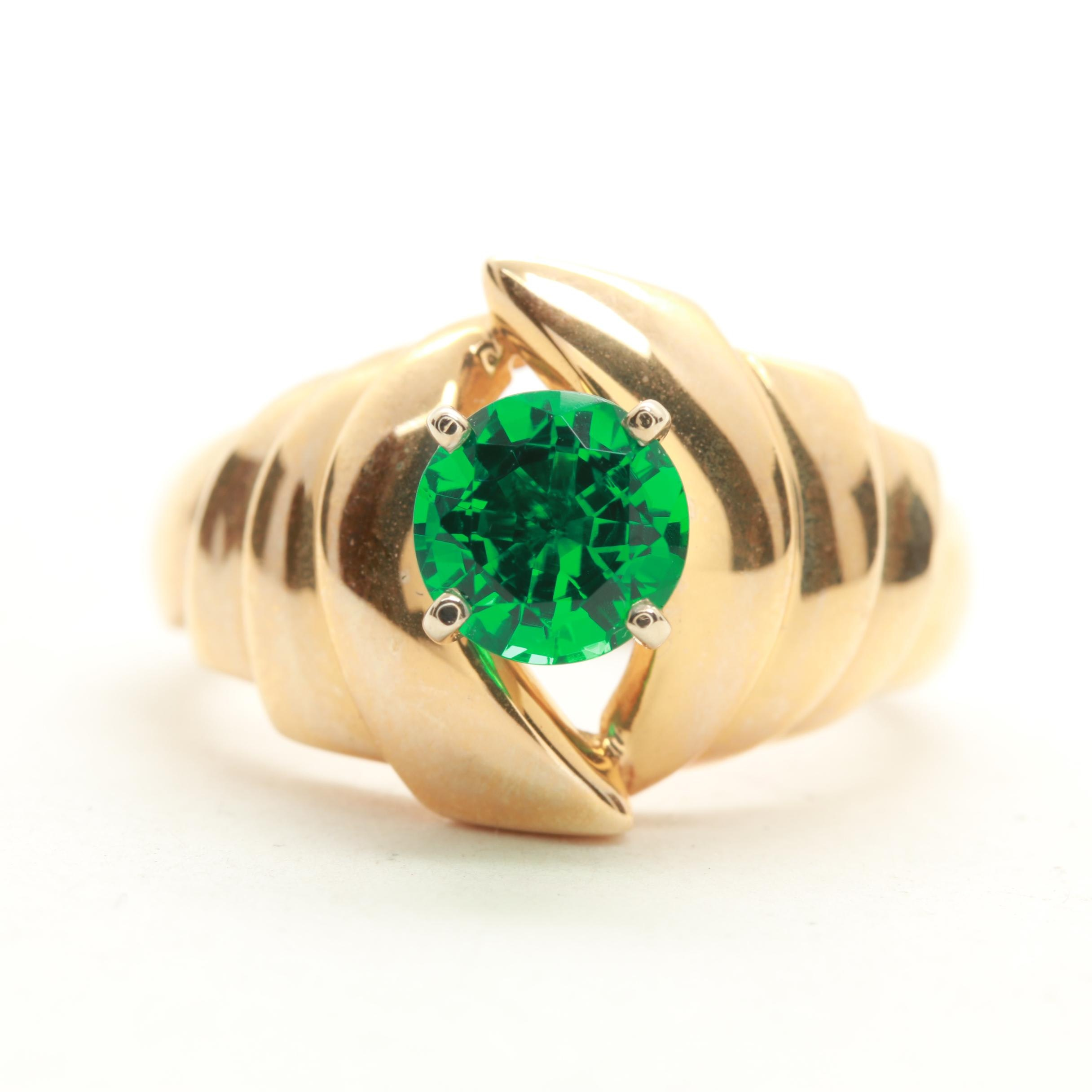 14K Yellow Gold Synthetic Emerald Ring
