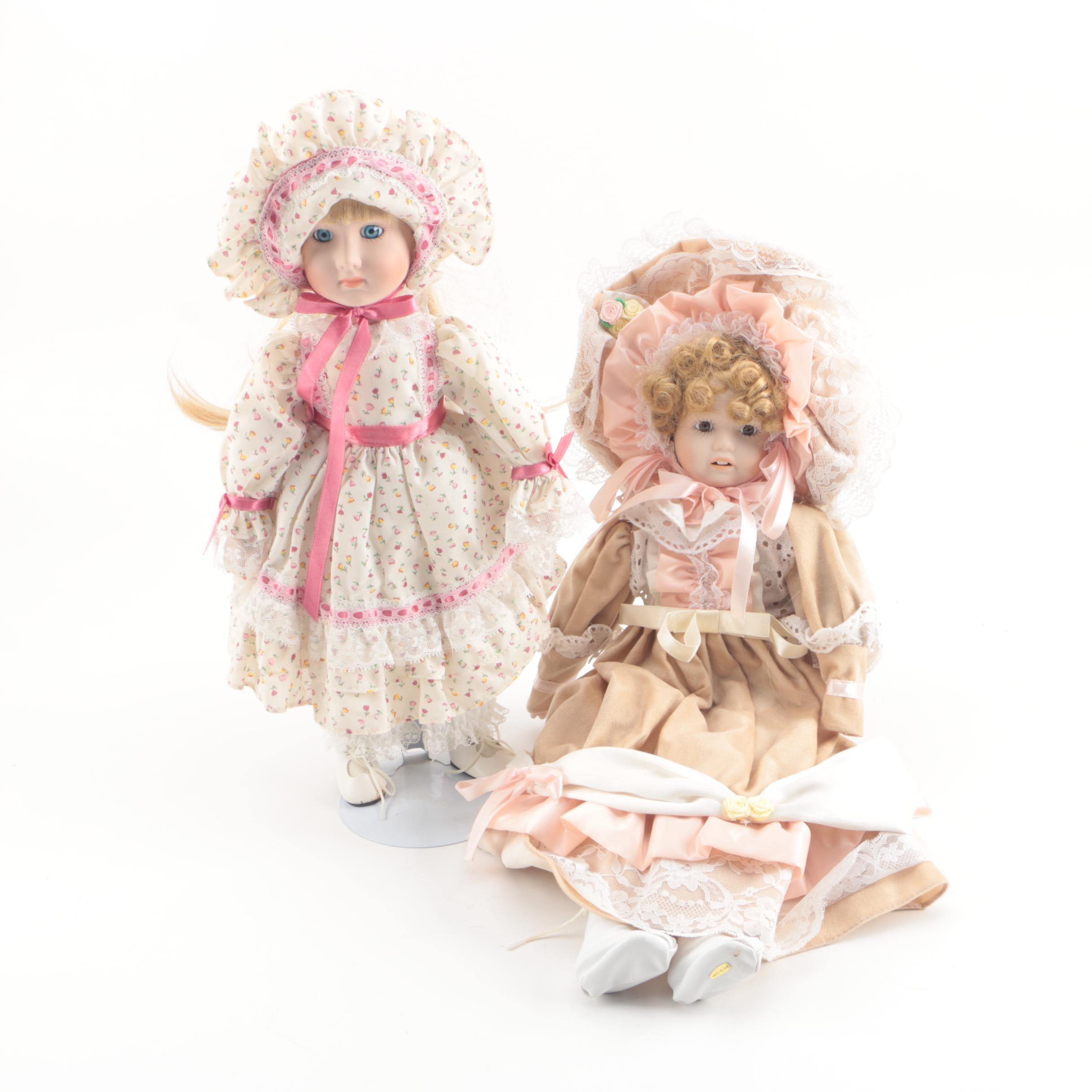 Vintage Hand-Painted Porcelain Dolls Featuring Enesco