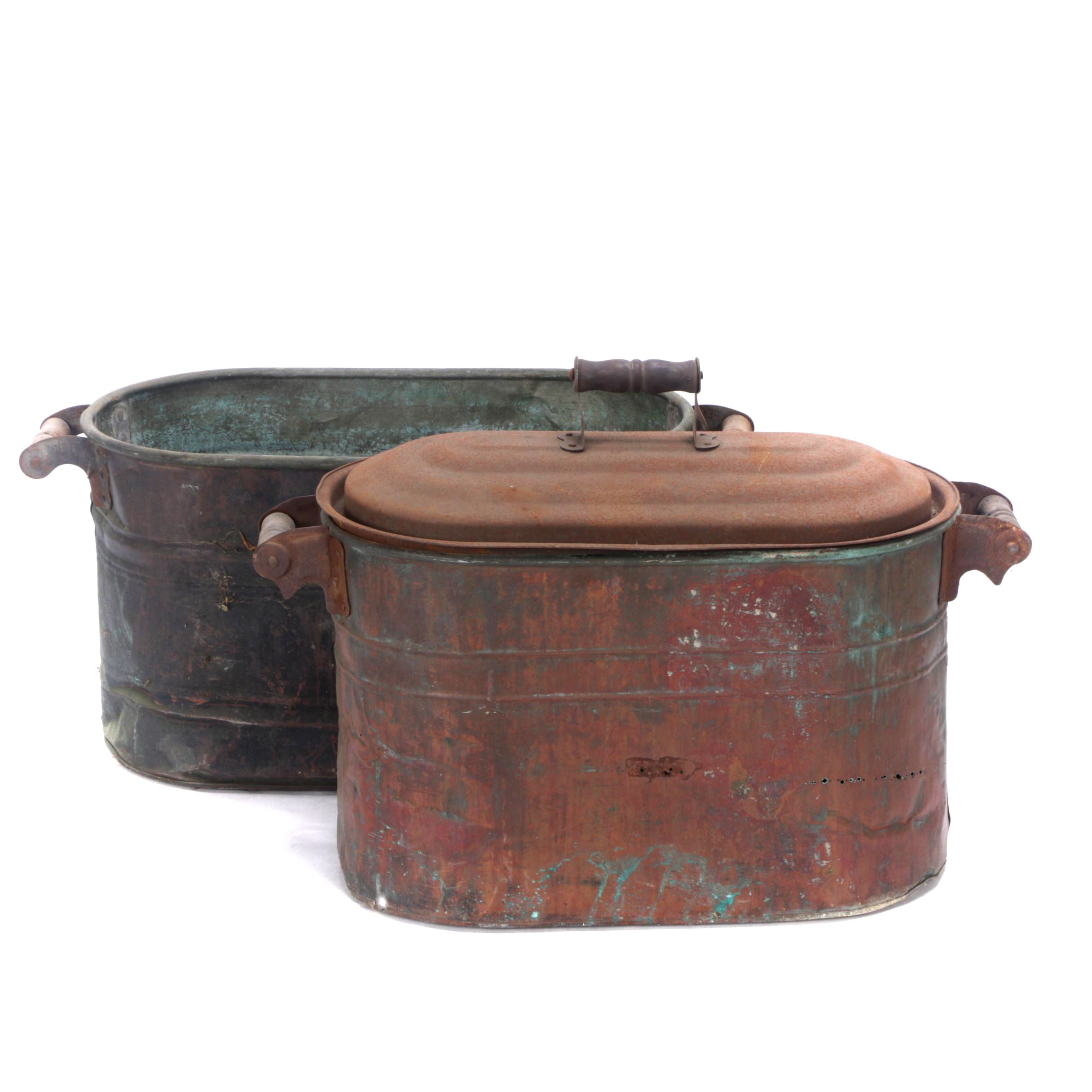 Copper and Steel Boliers with Lid