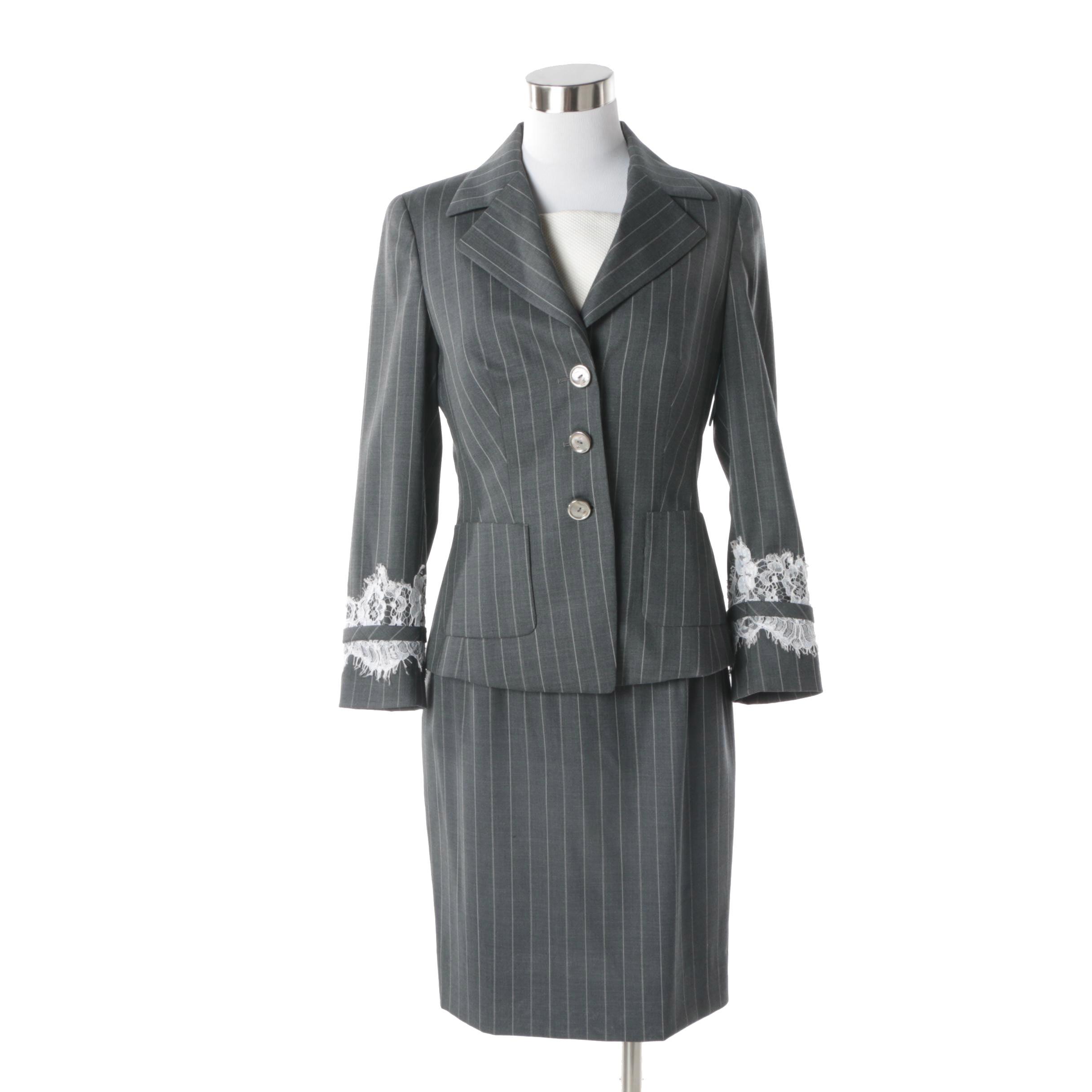 Women's Vintage Escada Grey Wool Pinstripe Dress Suit with Lace Trim