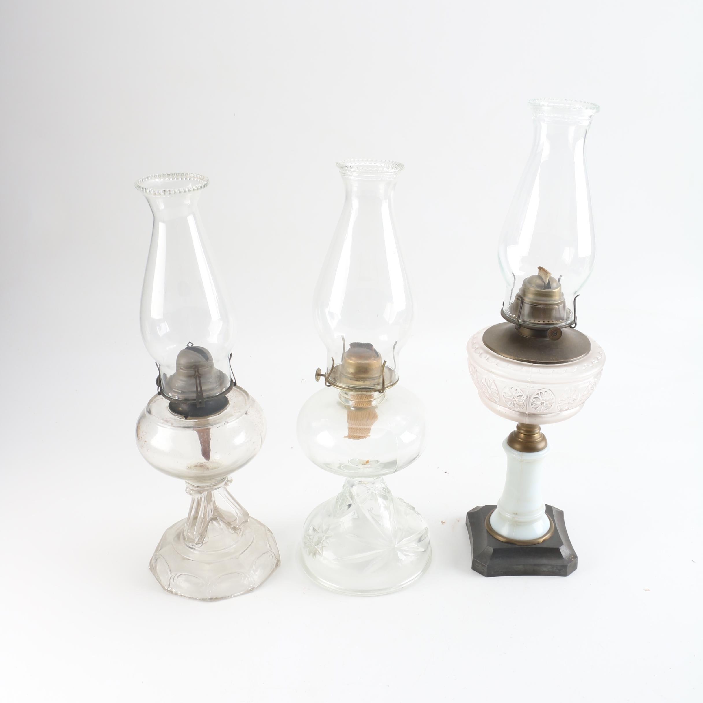 Vintage Glass Oil Lamps