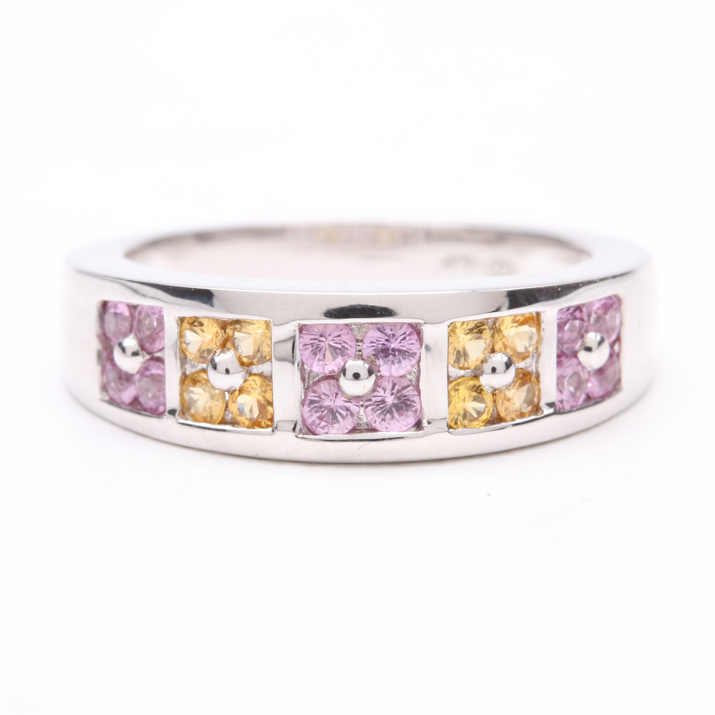 14K White Gold Pink and Yellow Sapphire Ring