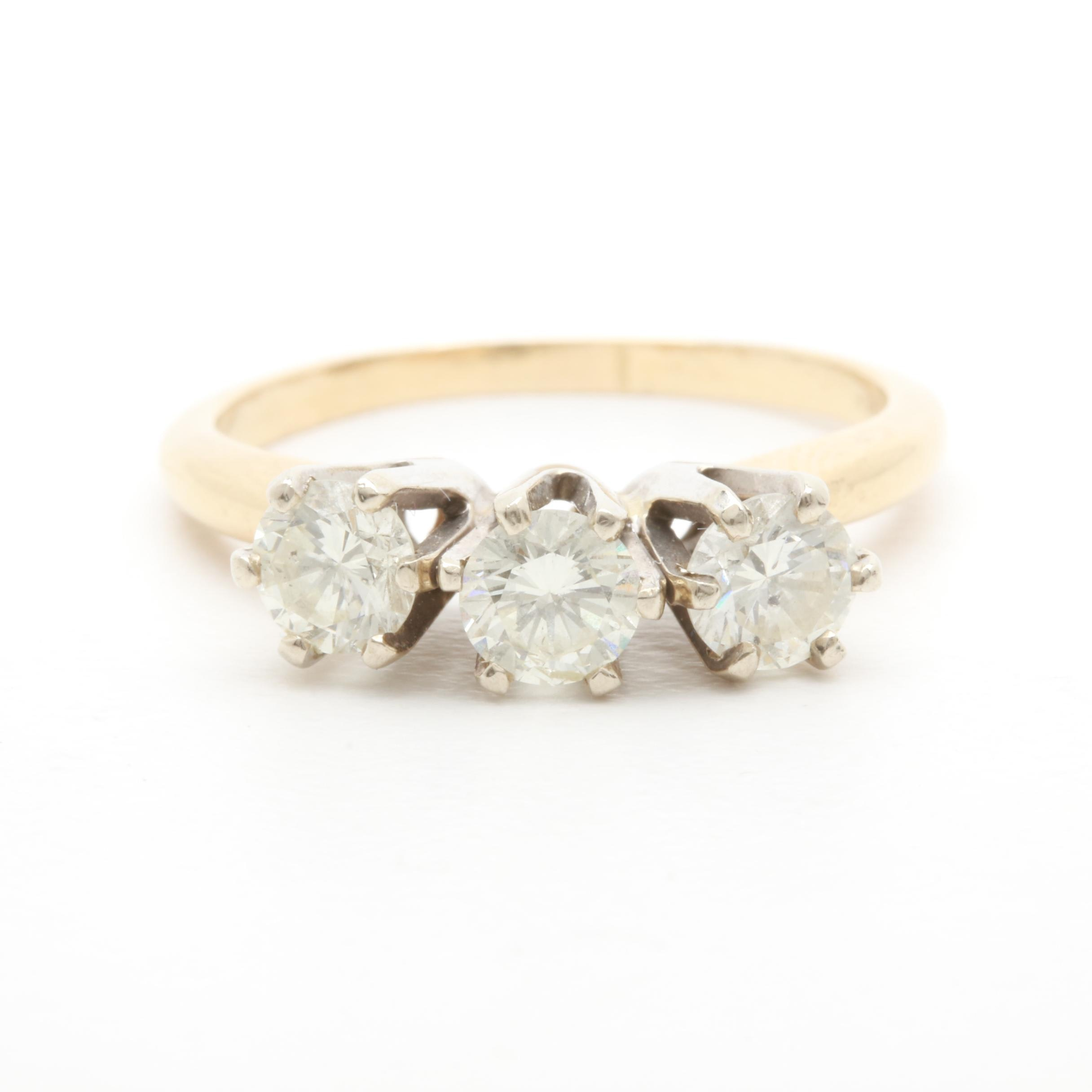 14K Yellow and White Gold 1.00 CTW Diamond Ring