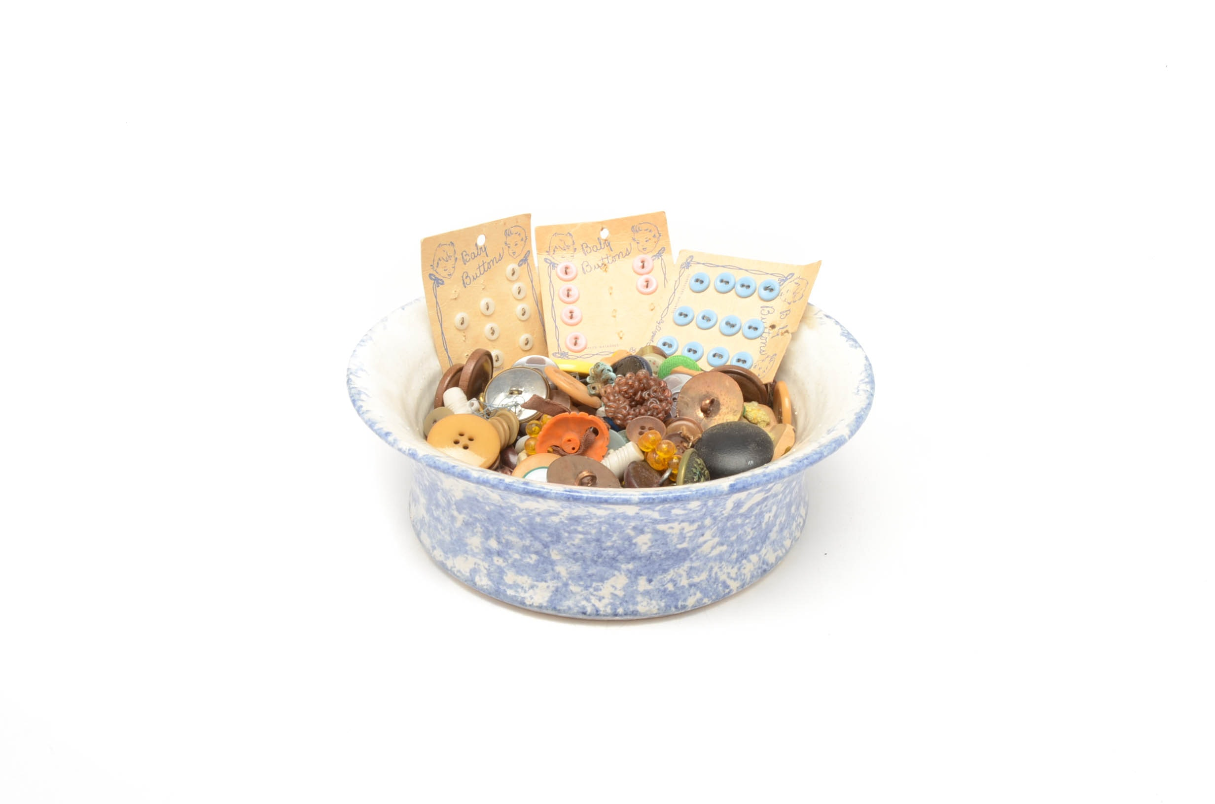 Blue Spongeware Ceramic Bowl with Button Collection