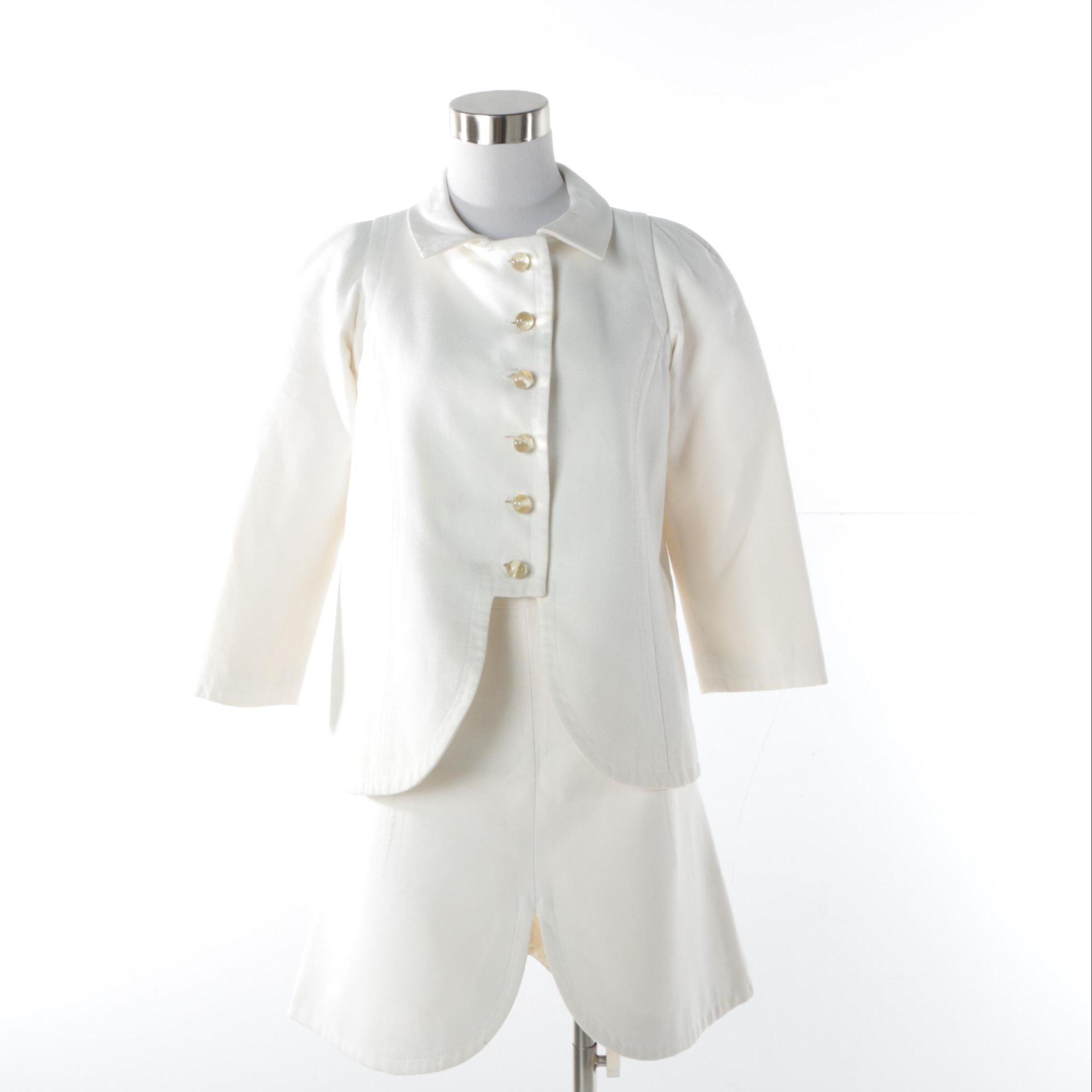 Women's Circa 1960 Le Dix Balenciaga of Paris Off-White Cotton Blend Skirt Suit