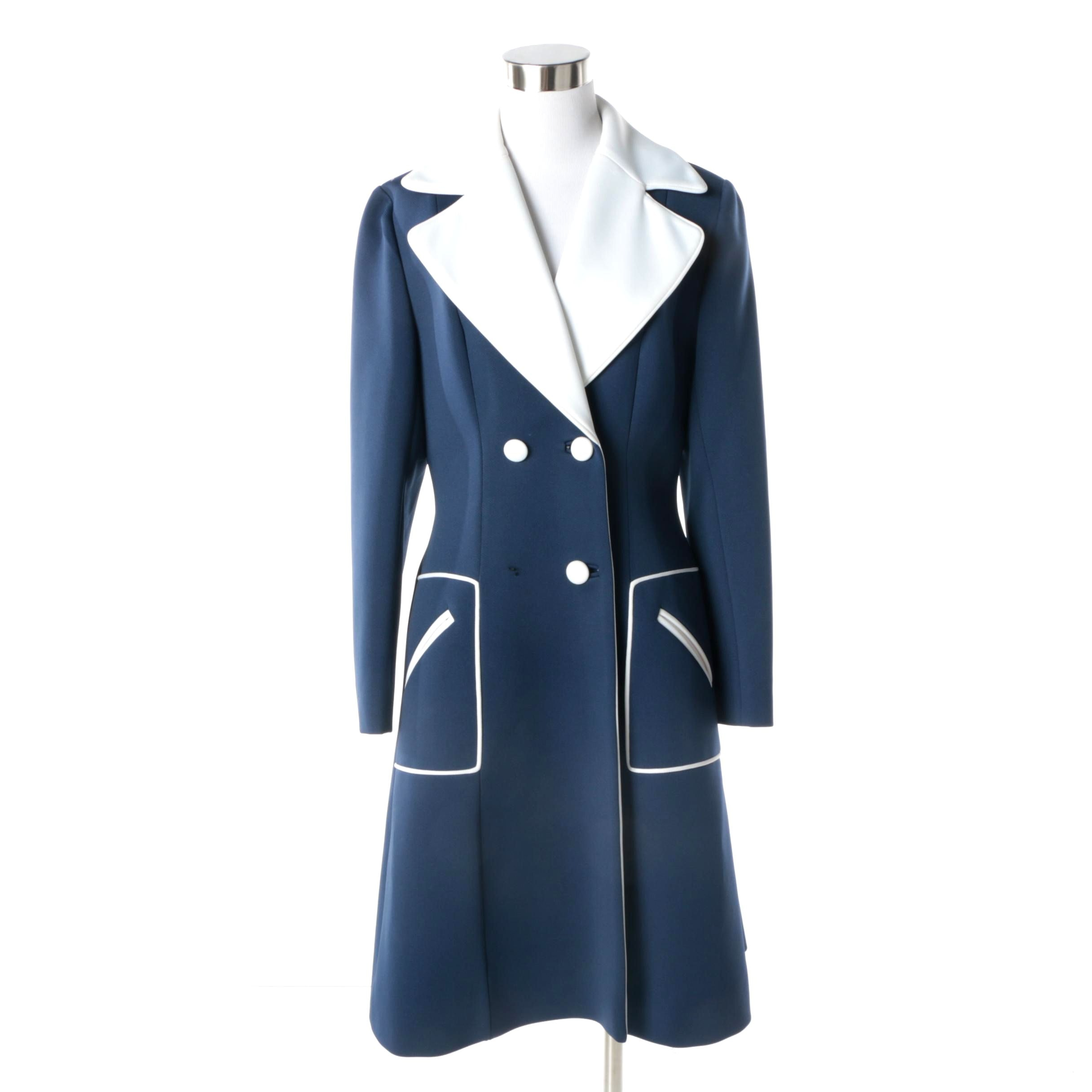 Women's Circa 1960s Vintage Lilli Ann Navy and White Double-Breasted Coat