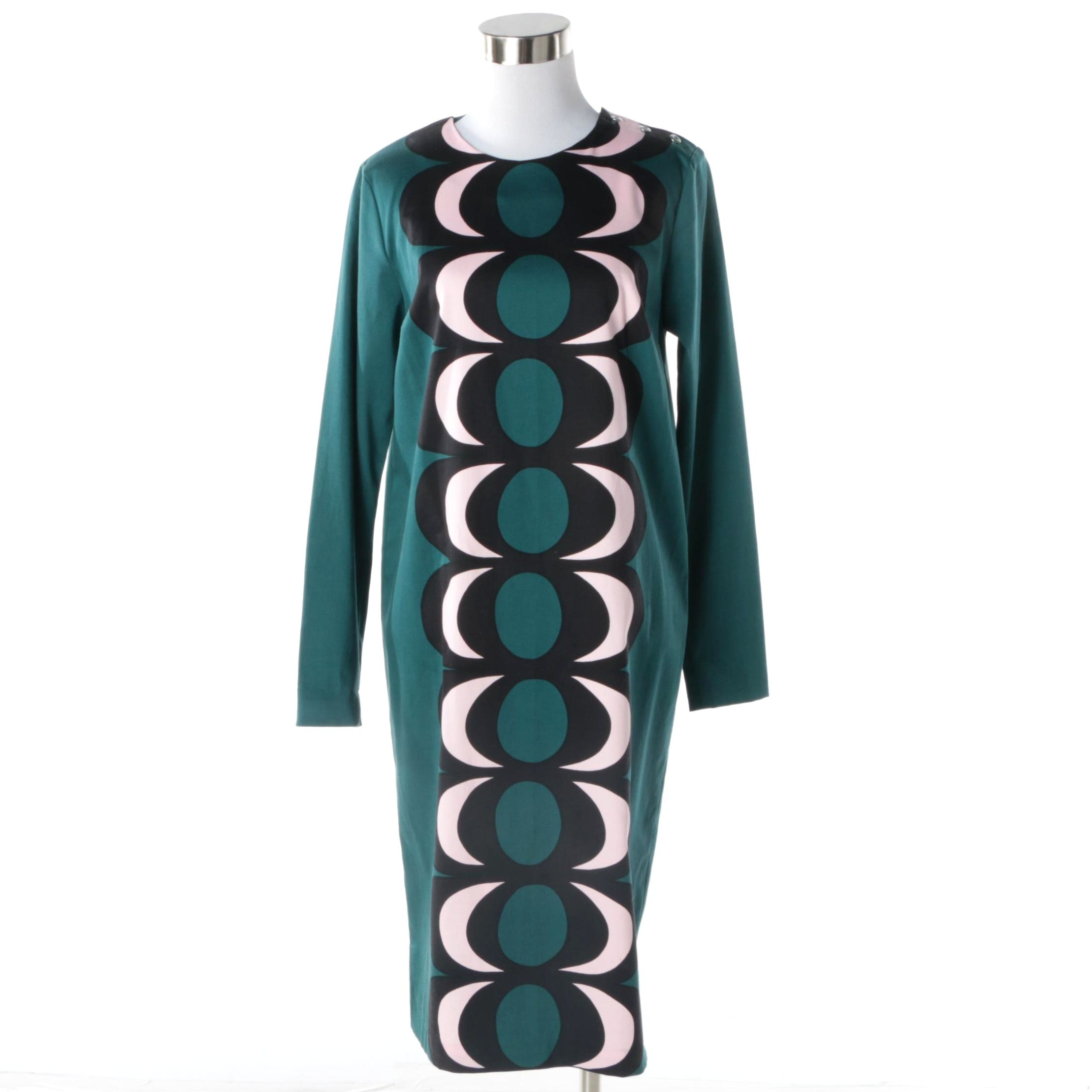 Women's Marimekko Green Bold Print Cotton Shift Dress