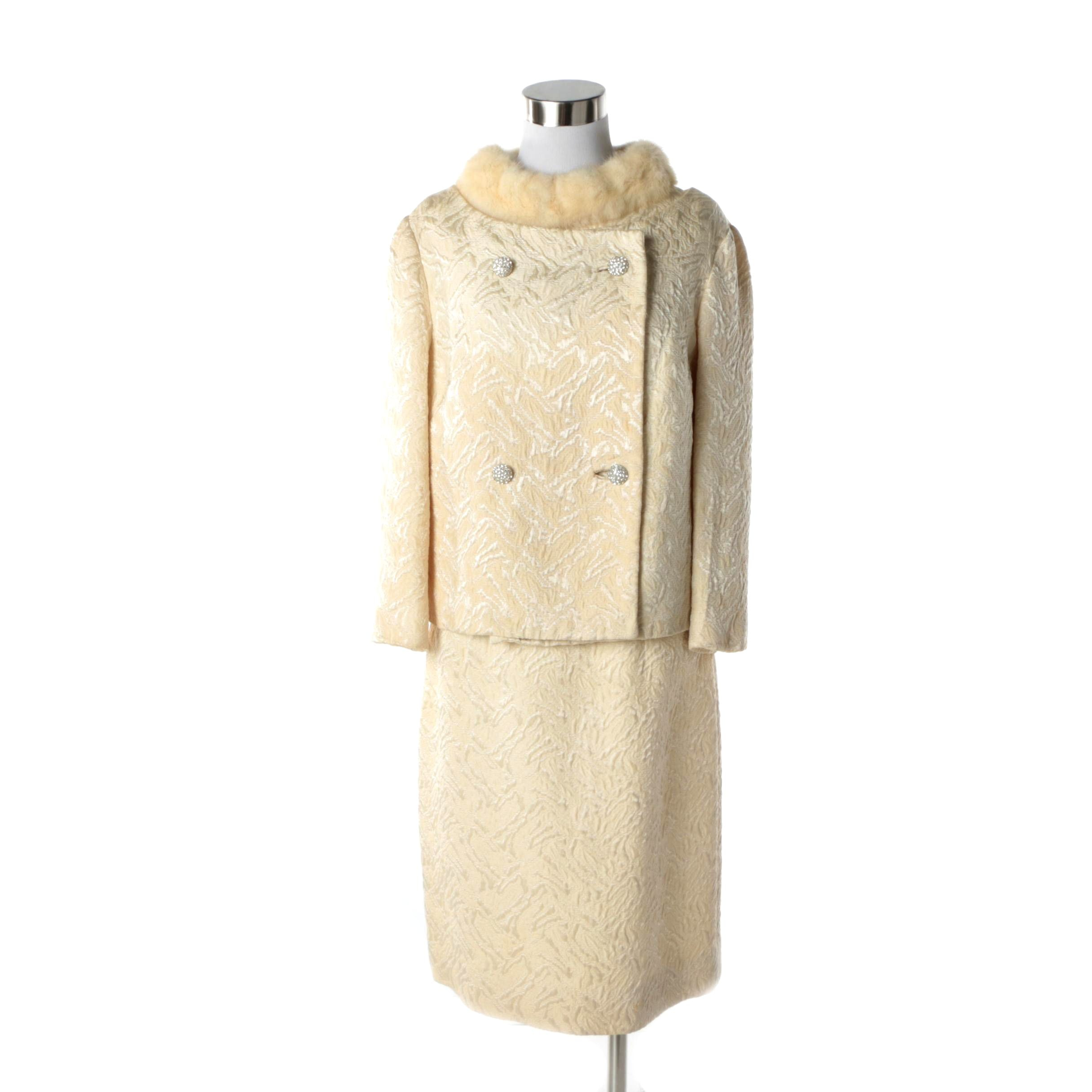 1960s Vintage Open Back Ivory Jacquard and Mink Fur Cocktail Dress and Jacket